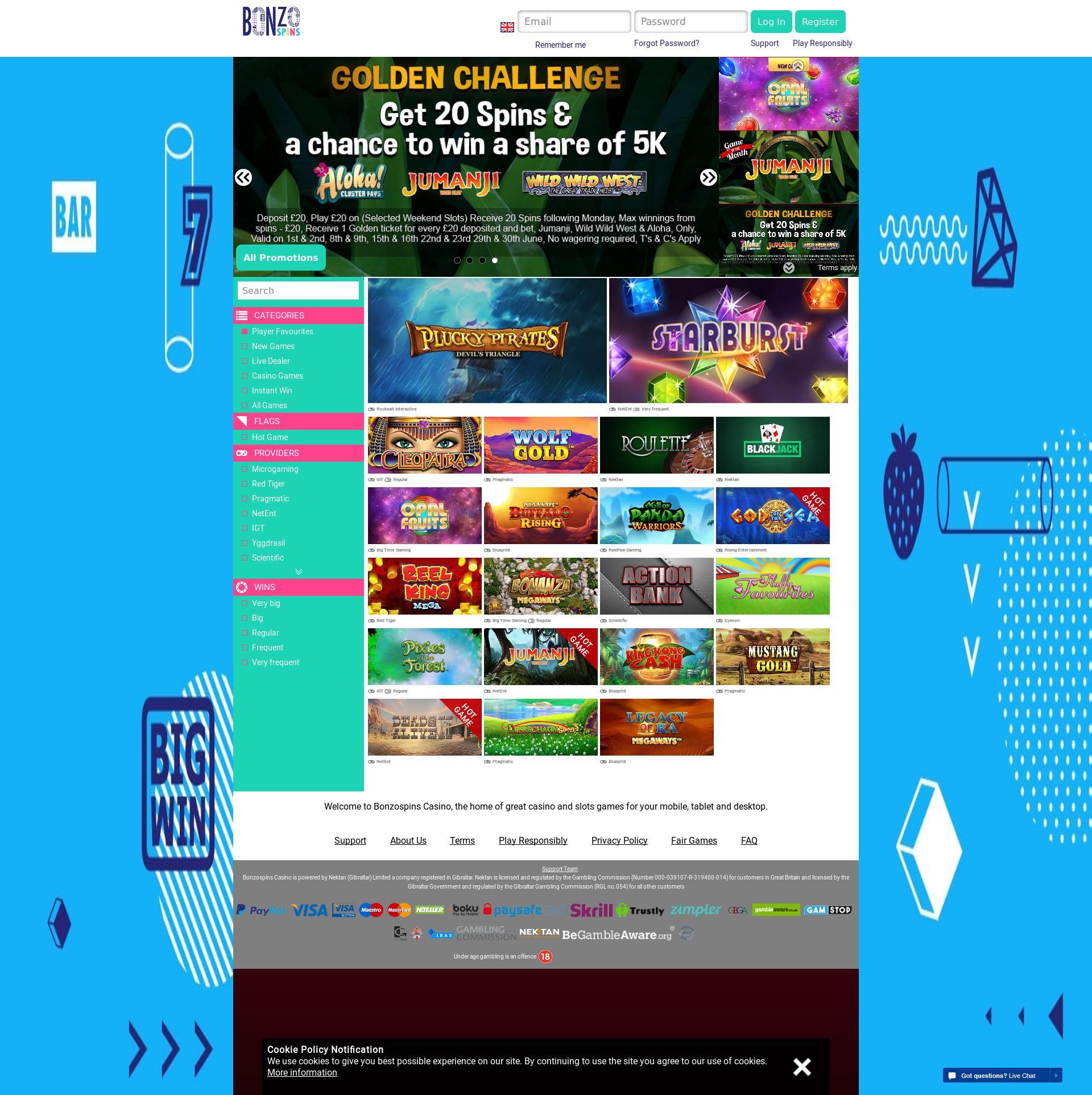 Casino screen Lobby 2019-06-16 for United Kingdom