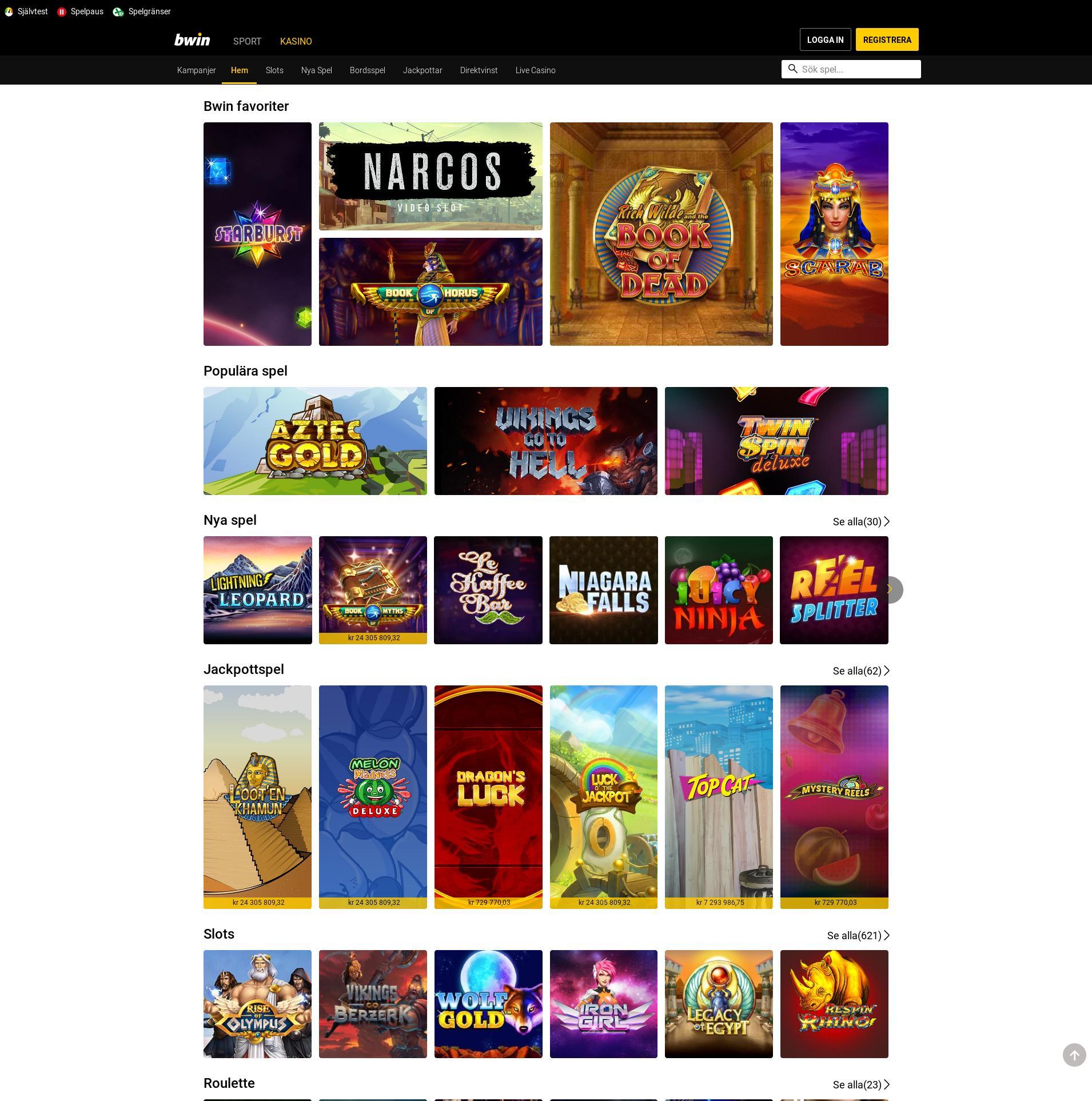 Casino skärm Lobby 2019-06-18 för Sverige