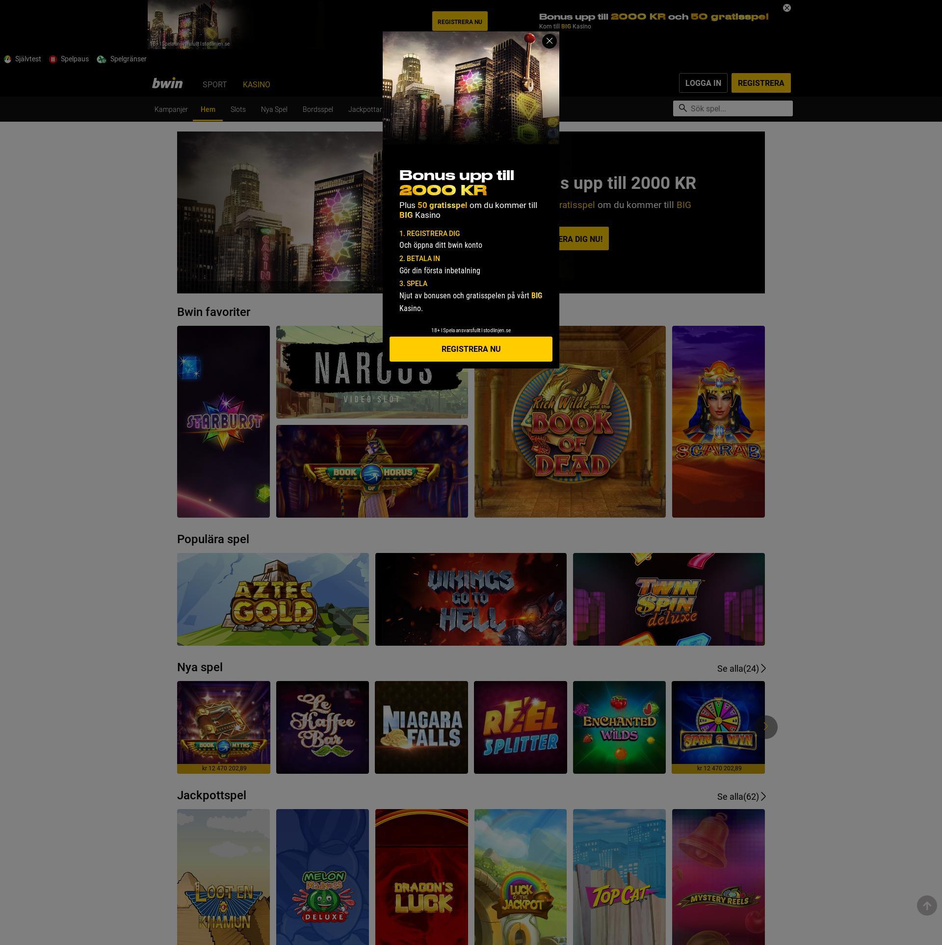 Casino skärm Lobby 2019-09-20 för Sverige