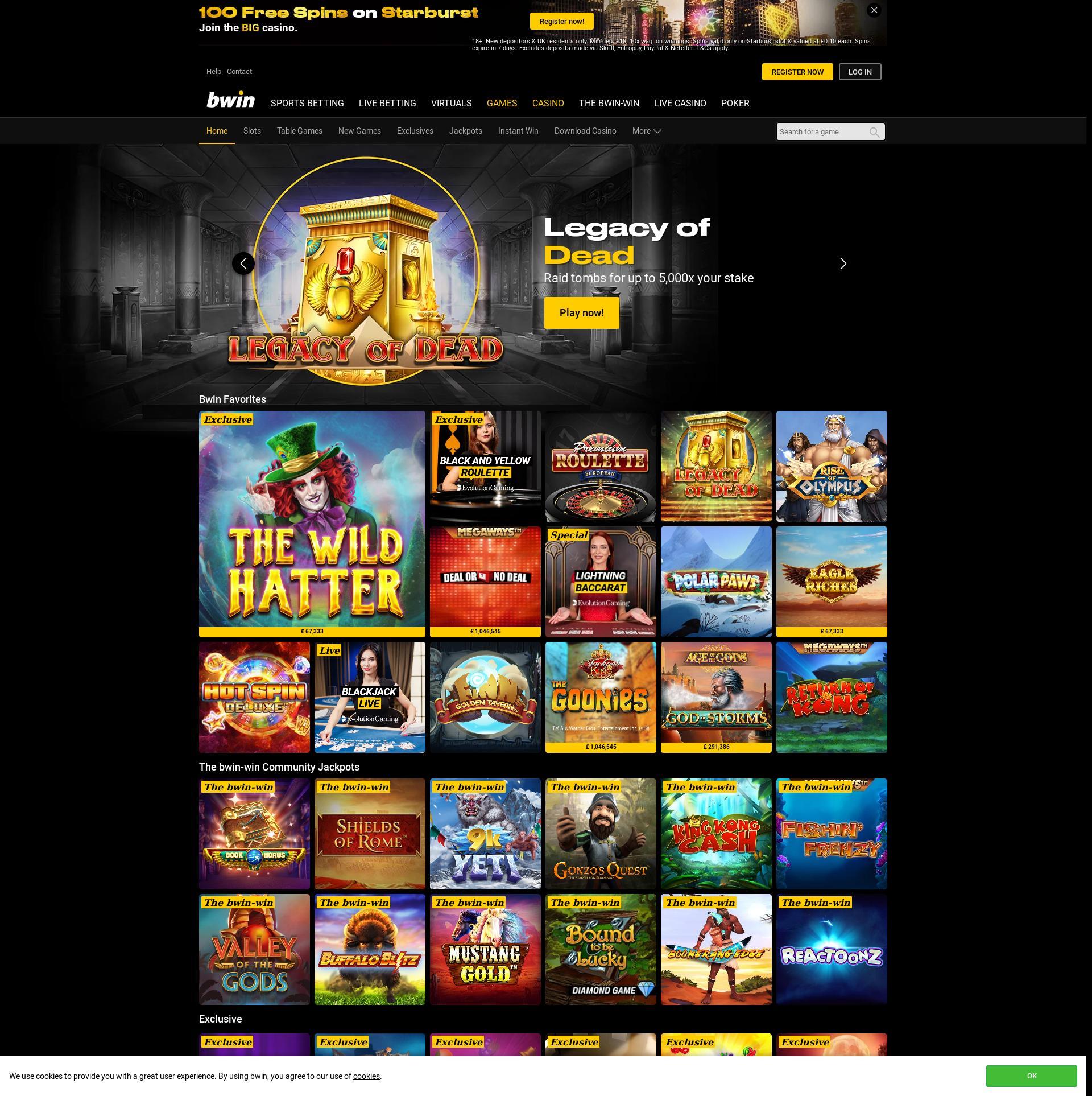 Casino screen Lobby 2020-01-18 for United Kingdom