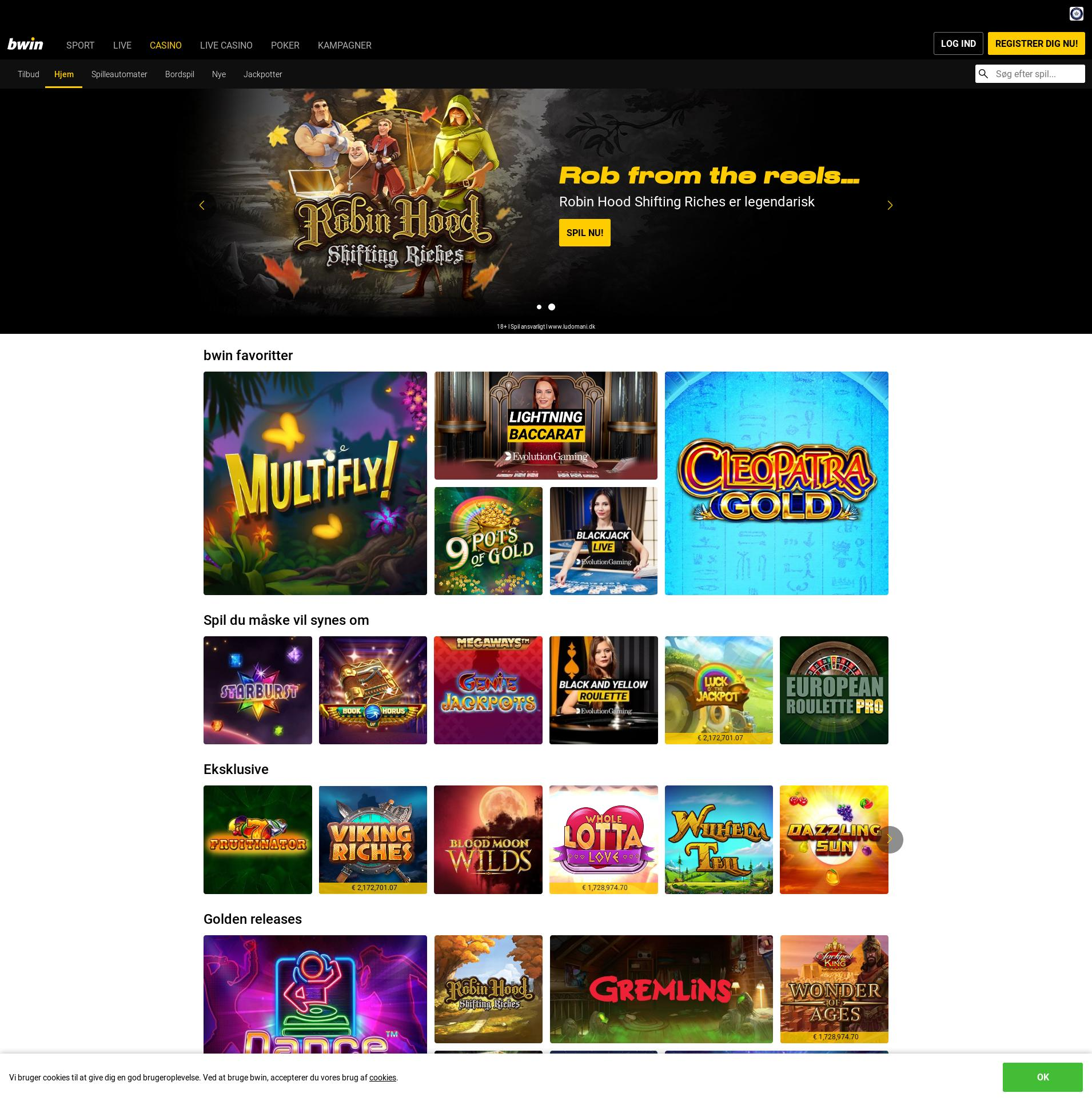 Casino skærm Lobby 2020-03-27 til Danmark