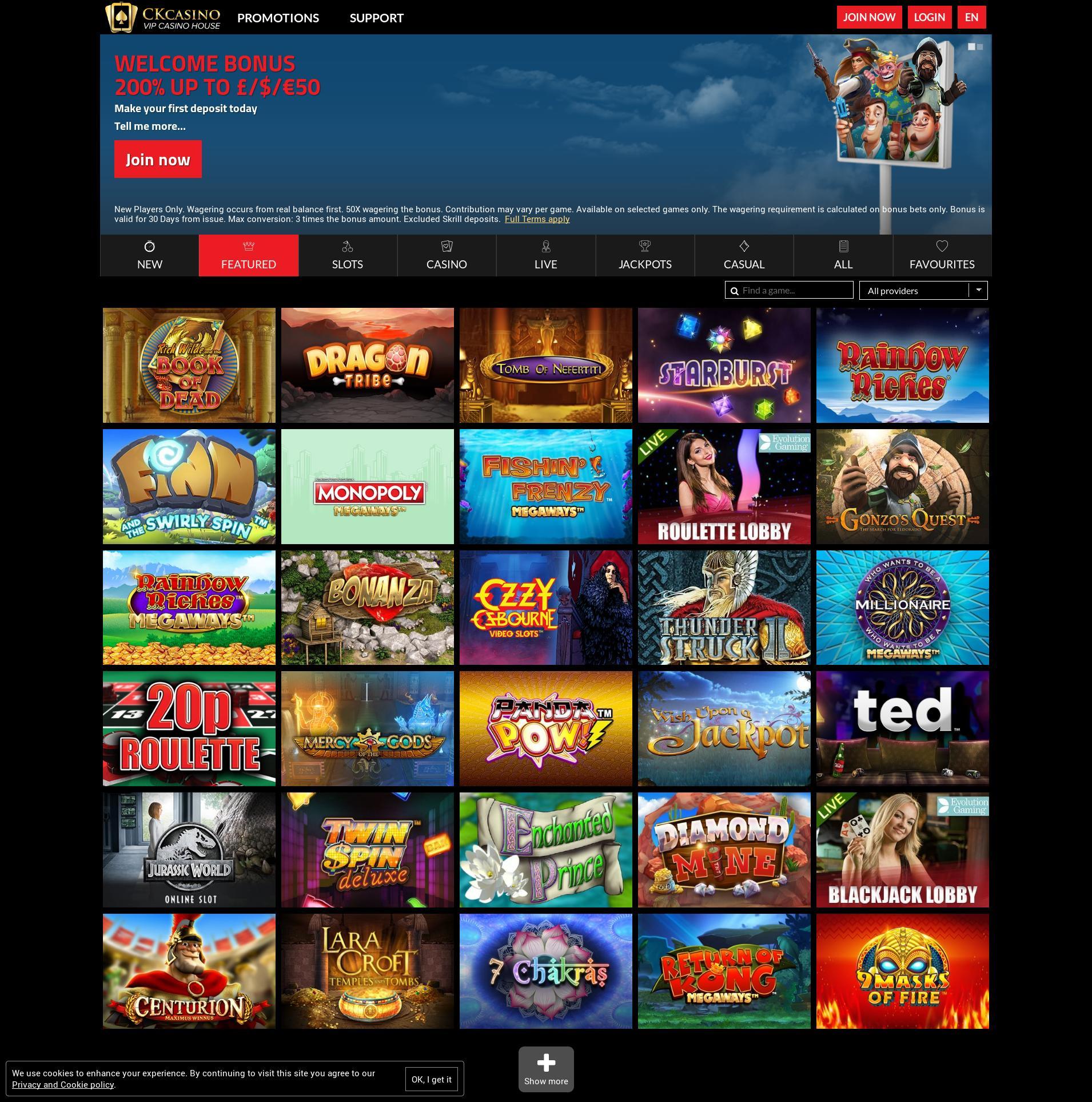Casino screen Lobby 2020-03-27 for United Kingdom