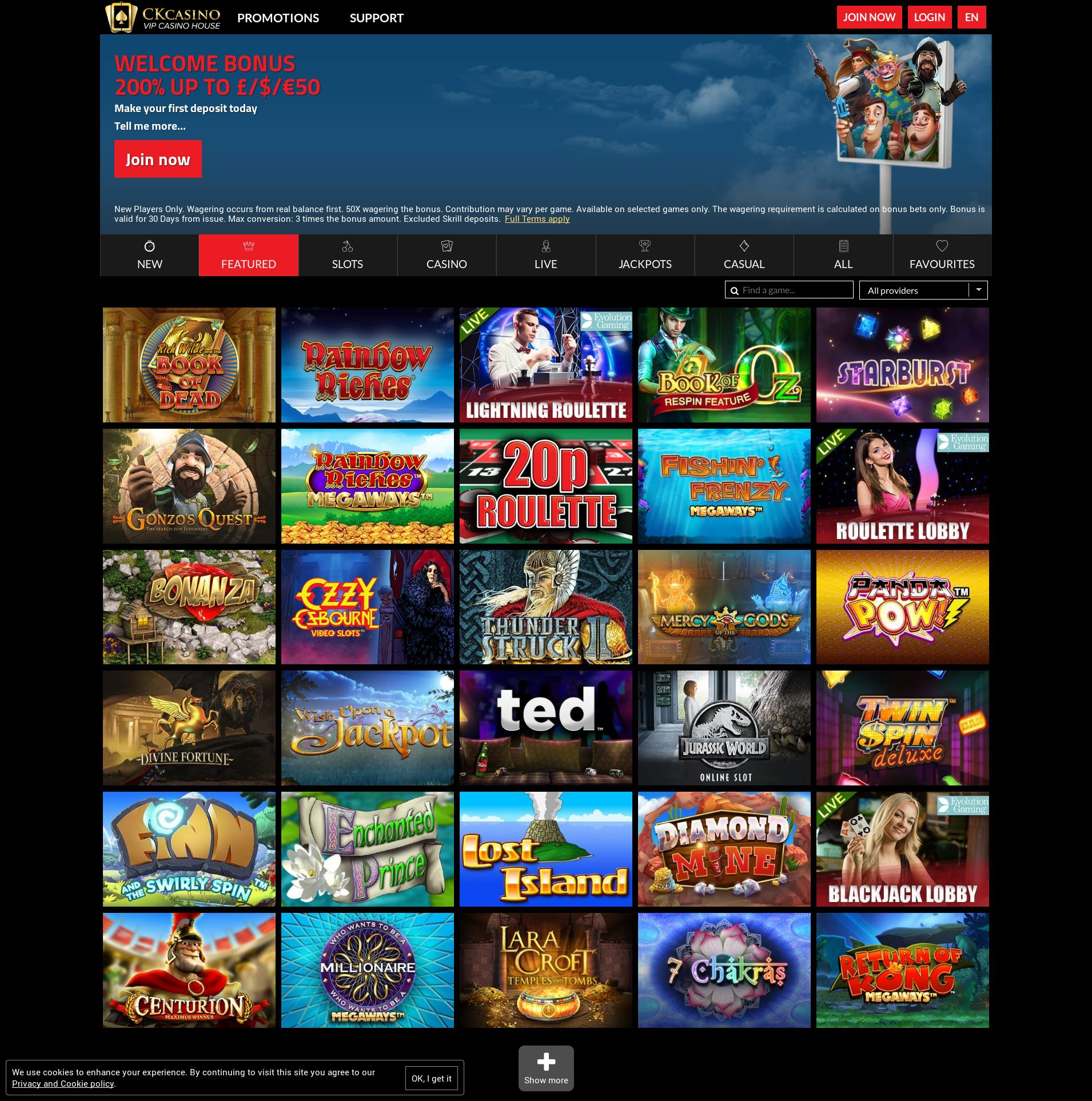 Casino screen Lobby 2020-01-28 for United Kingdom