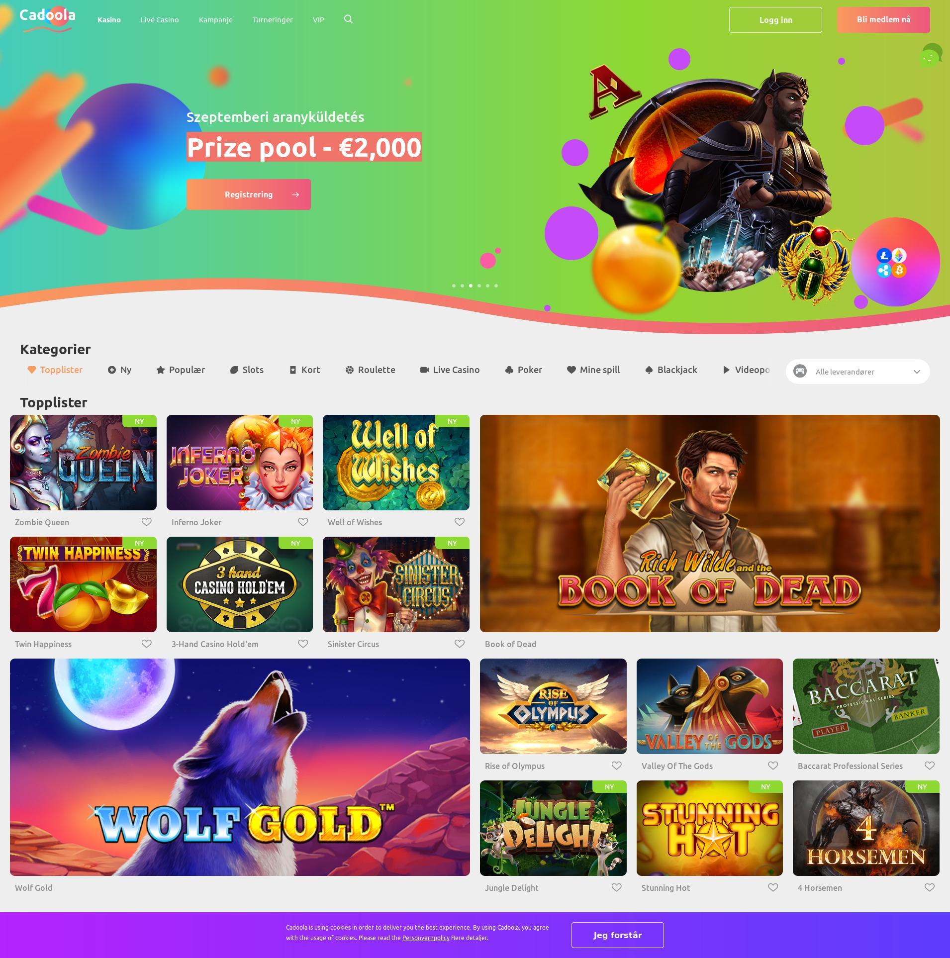 Casino skjerm Lobby 2019-09-15 til Norge