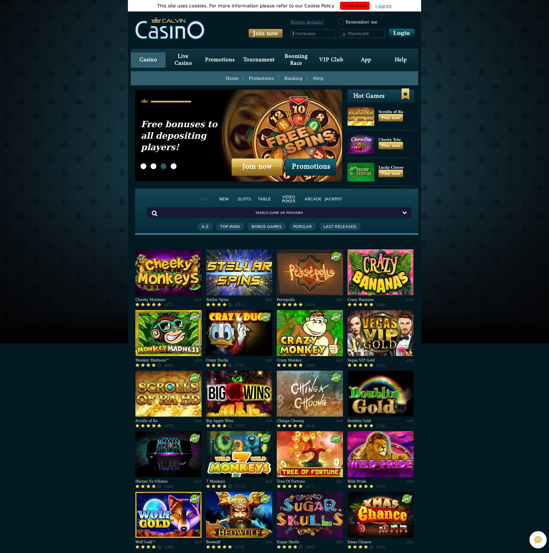 Casino screen Lobby 2019-07-21 for Germany