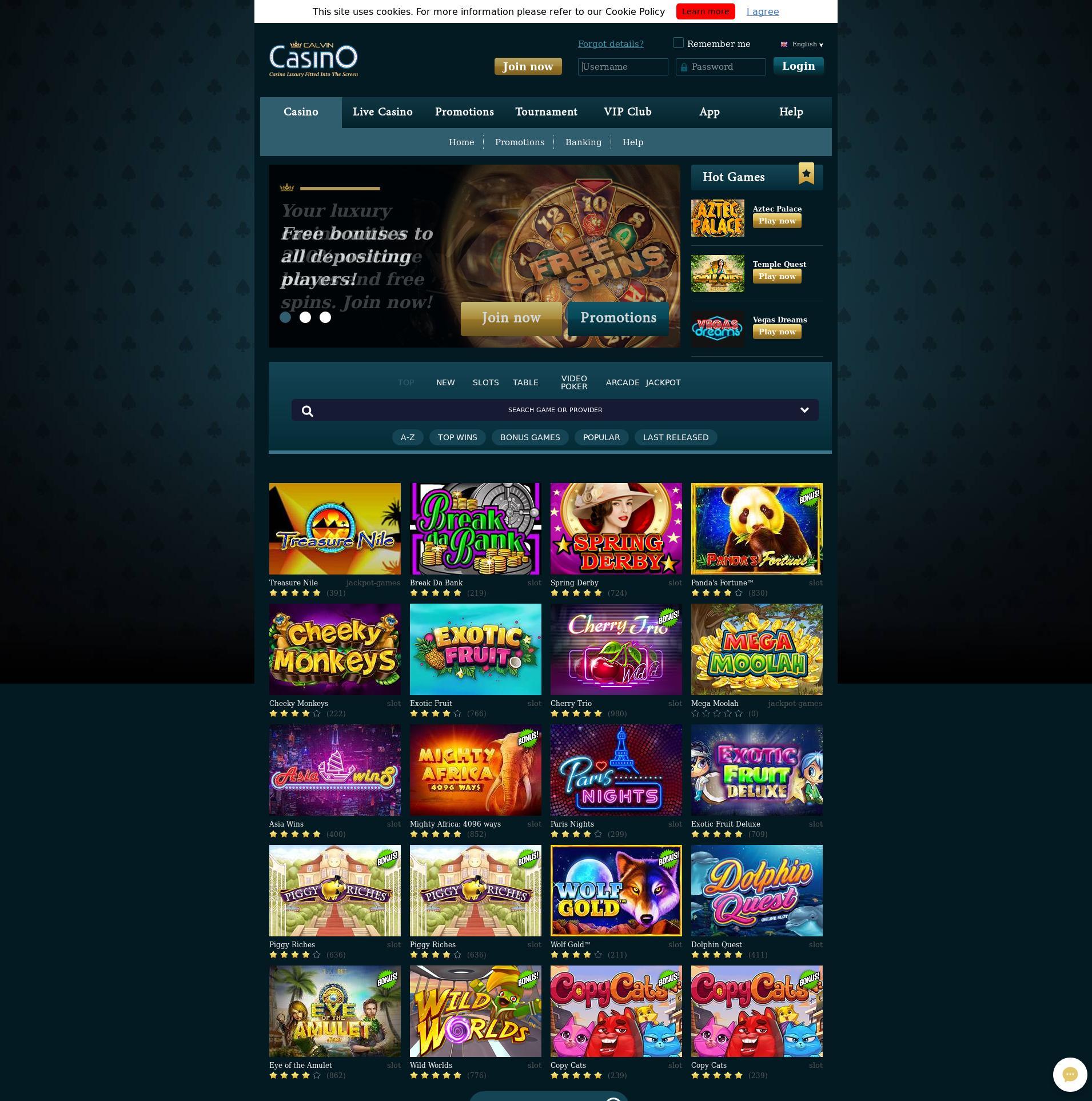 Casino screen Lobby 2019-09-15 for Germany