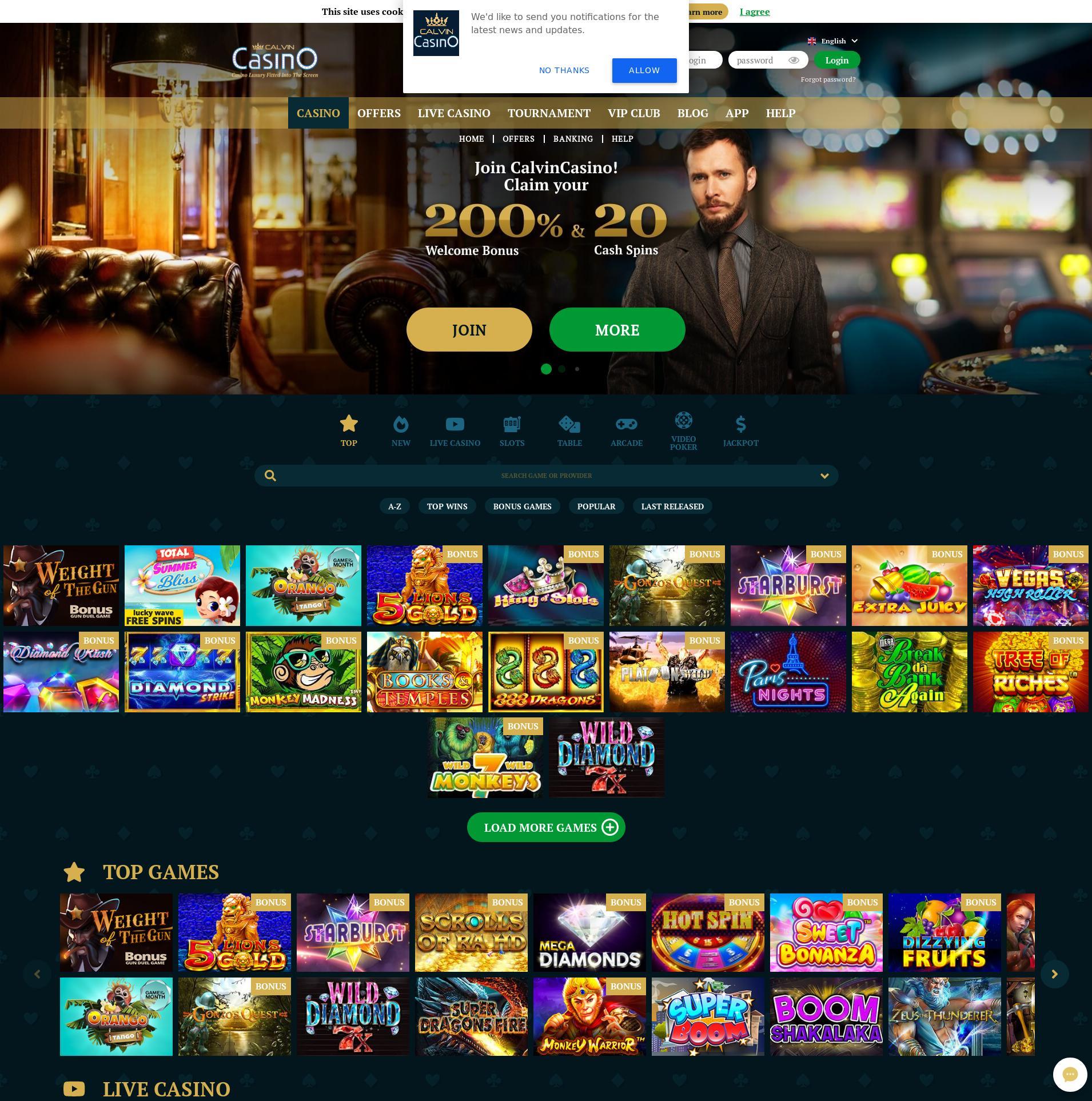 Casino skjerm Lobby 2020-01-26 til Norge