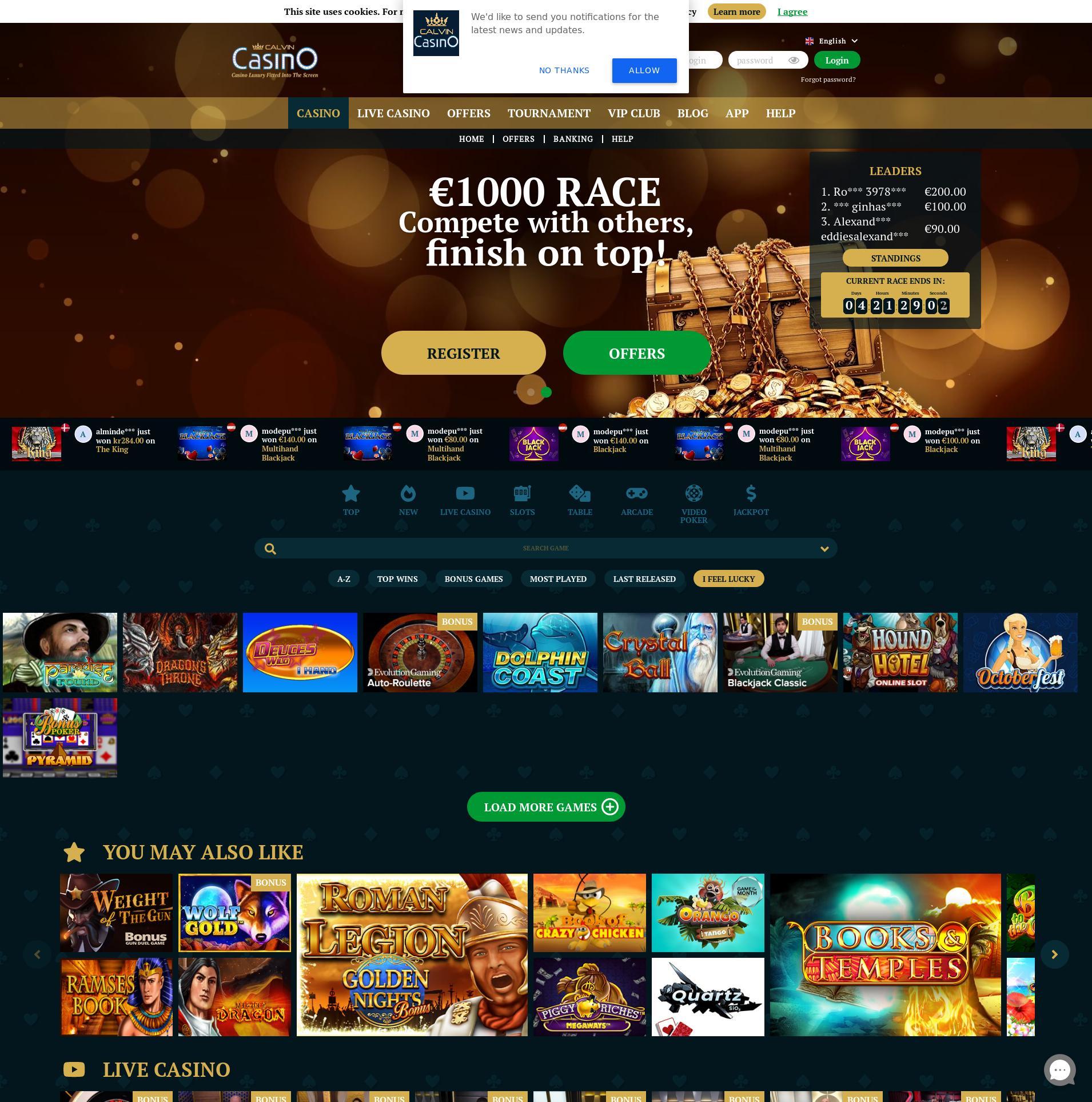 Màn hình Casino Lobby 2020-05-30 cho nước Đức