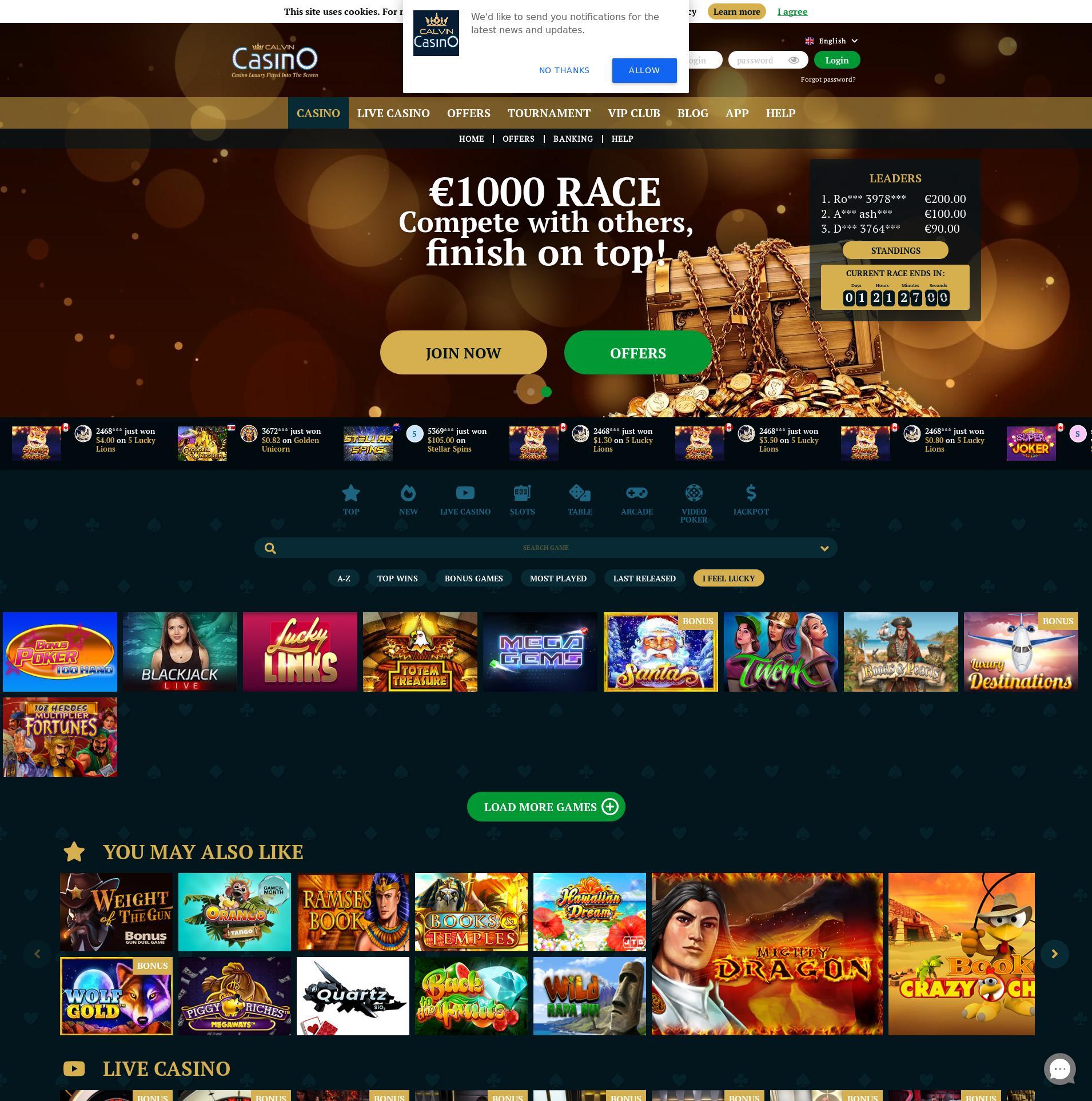 Casino screen Lobby 2020-06-02 for Germany