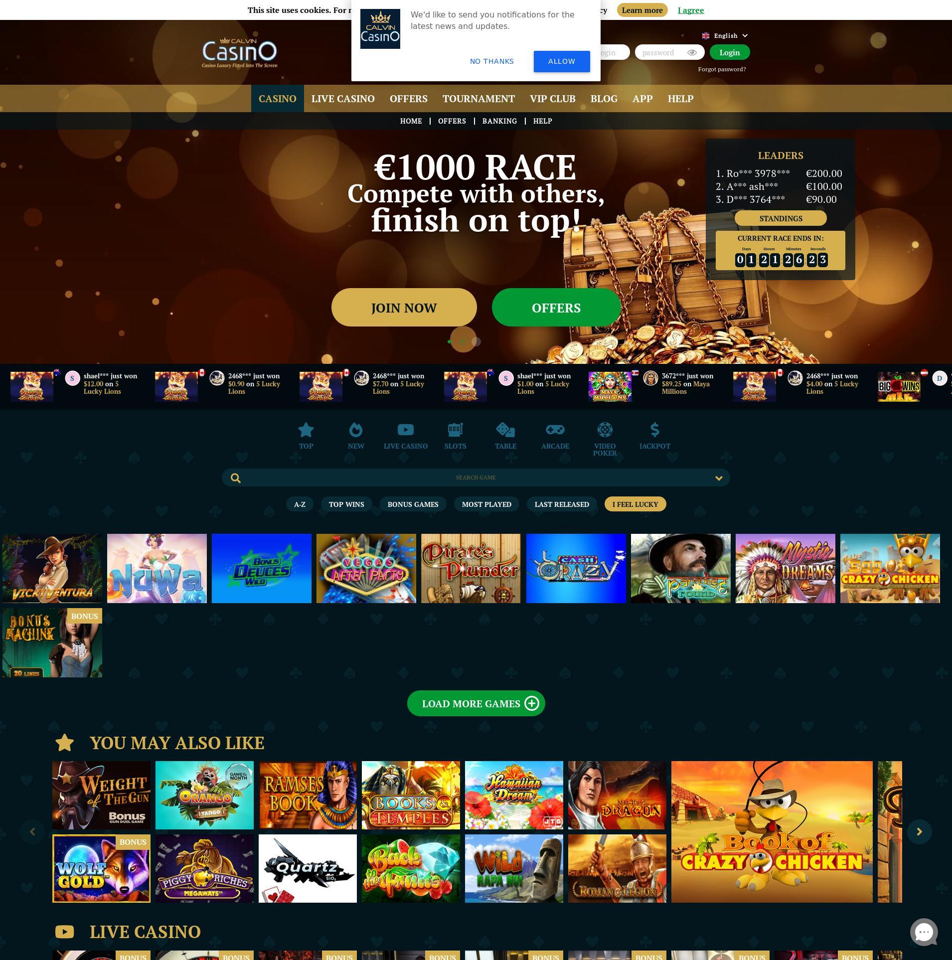 Casino skjerm Lobby 2020-06-02 til Norge