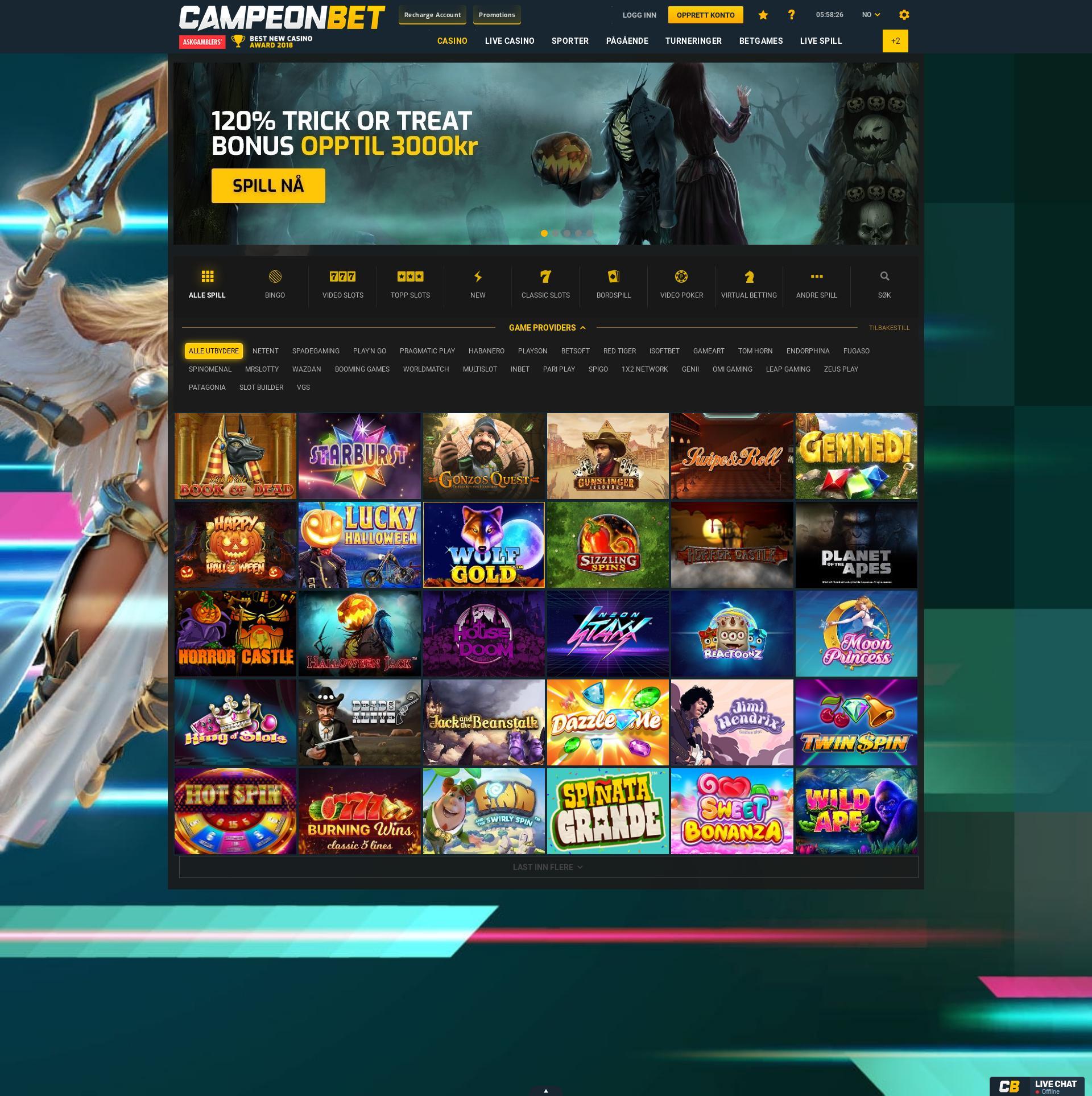 Casino screen Lobby 2019-10-21 for Norway