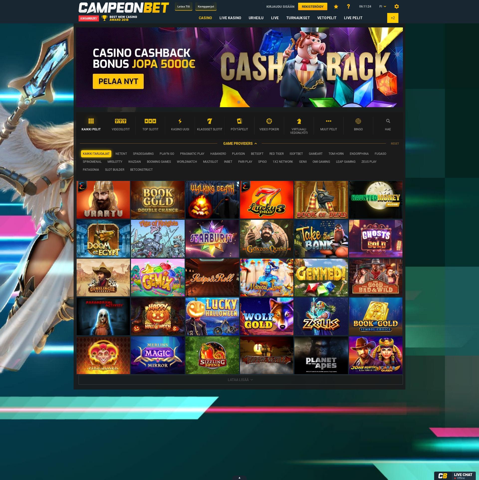 Casino-näyttö Lobby 2019-11-14 varten Suomi