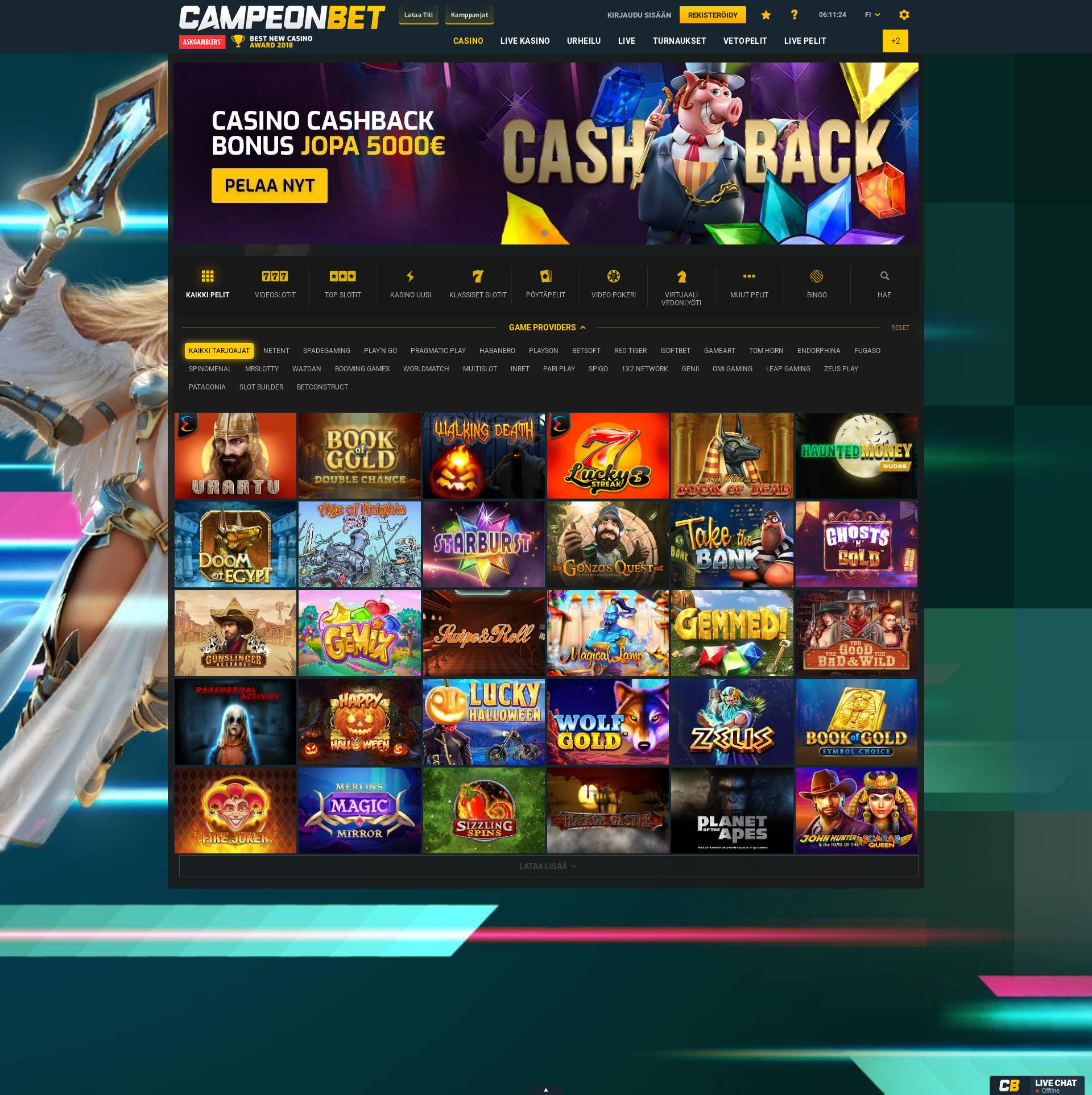 Casino screen Lobby 2019-11-14 for Finland