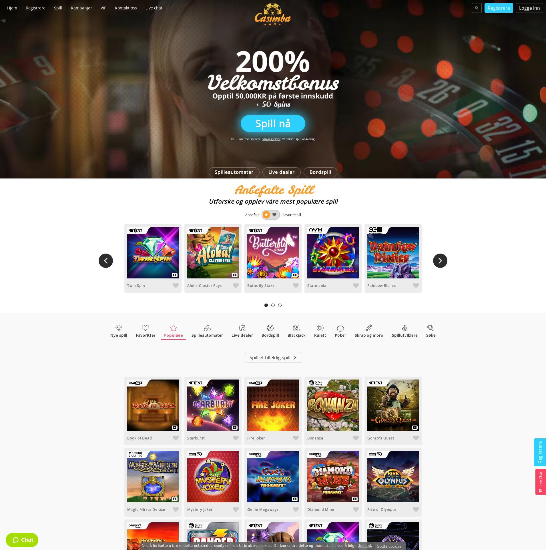 Casino skjerm Lobby 2019-07-15 til Norge