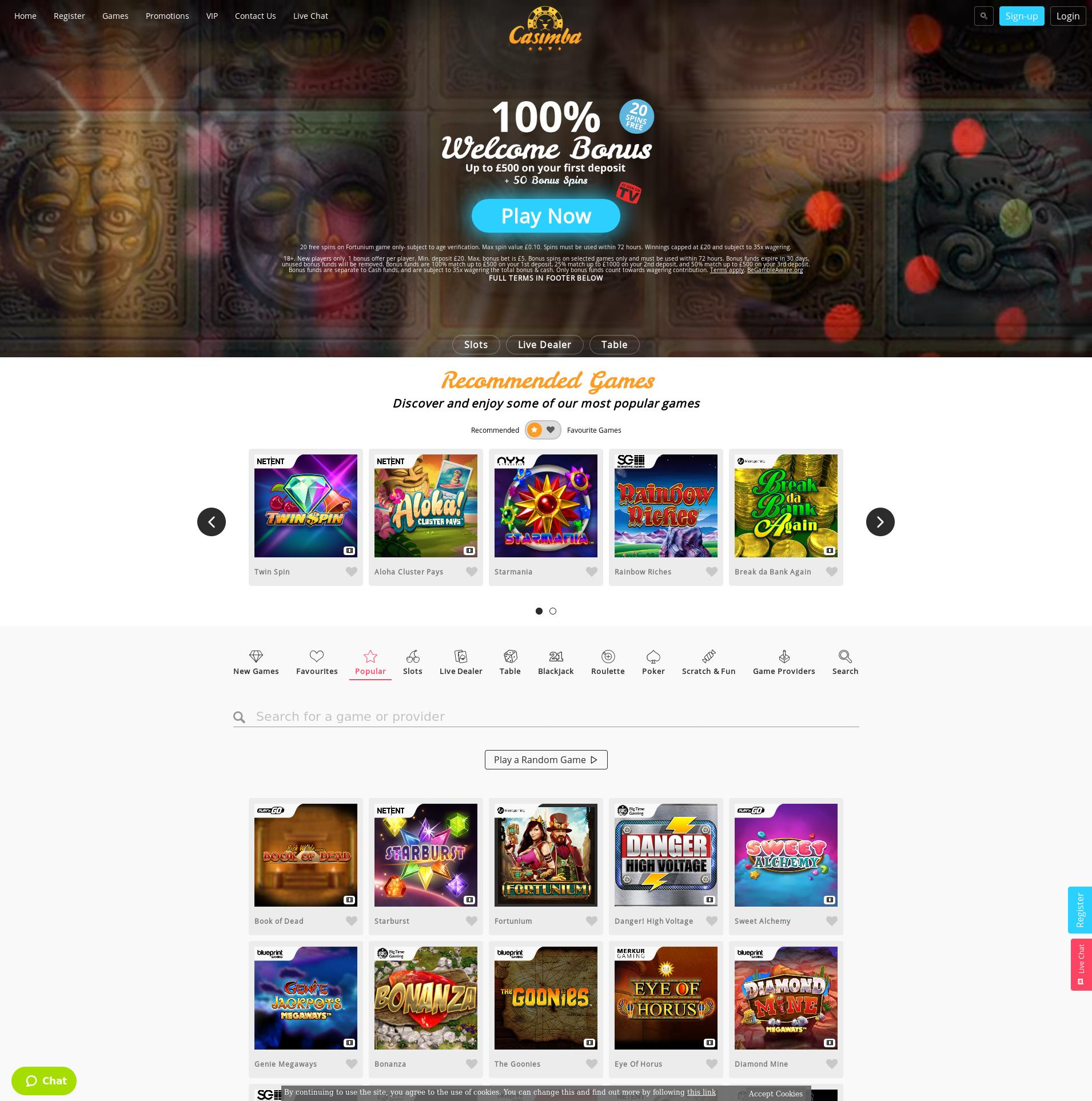Casino screen Lobby 2019-08-16 for United Kingdom