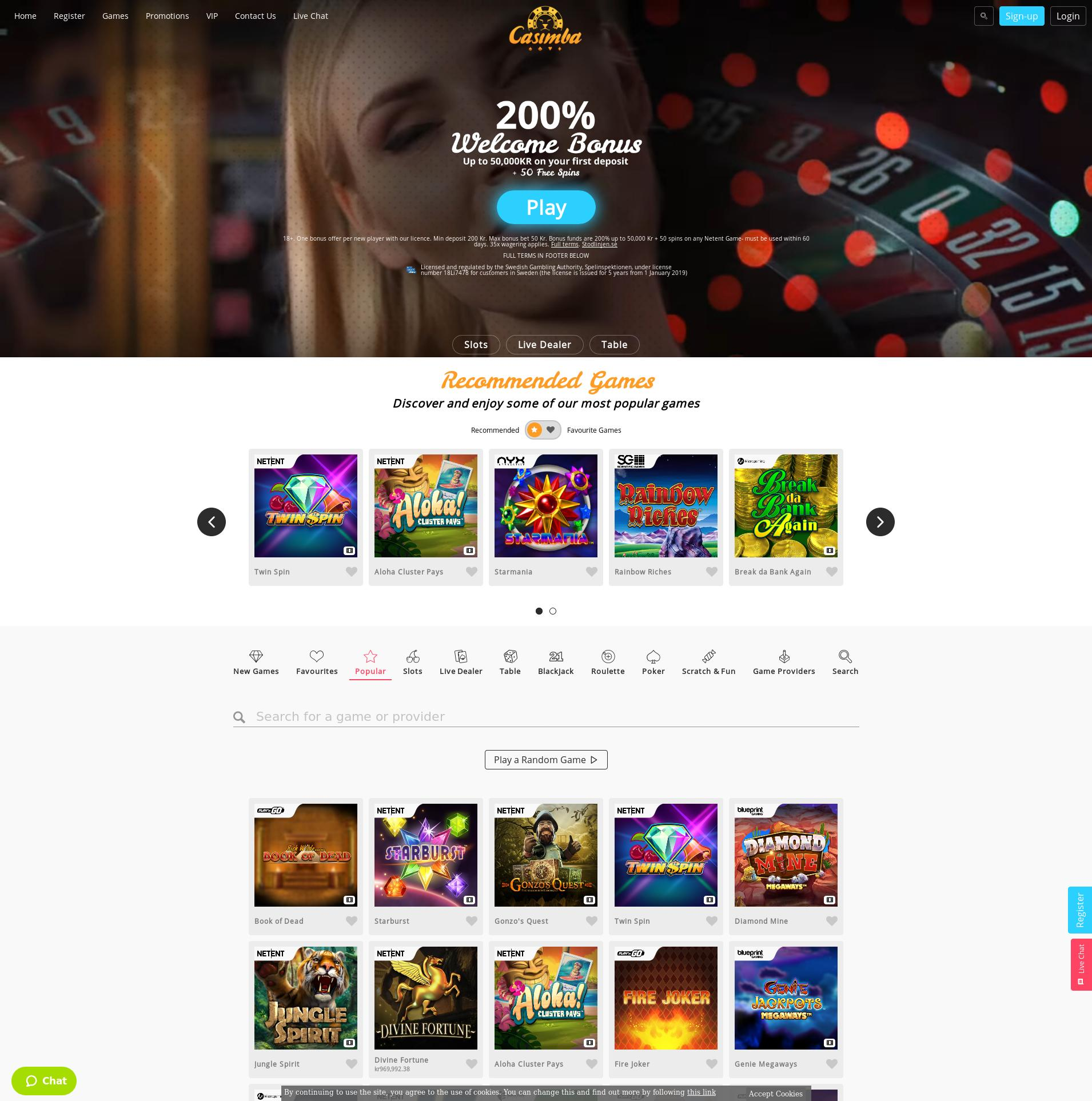 Casino skärm Lobby 2019-10-15 för Sverige