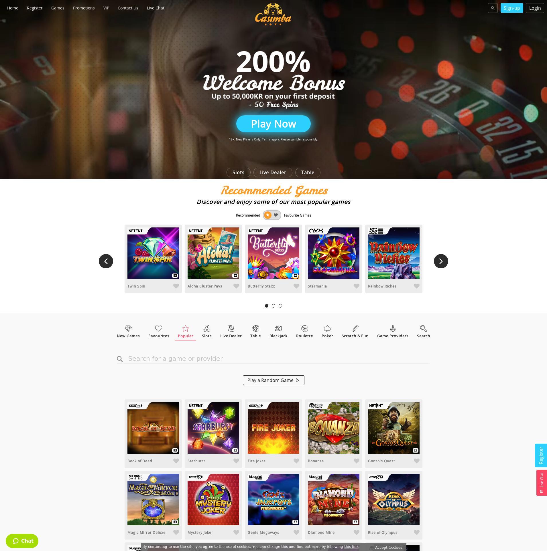 Casino skjerm Lobby 2019-10-20 til Norge