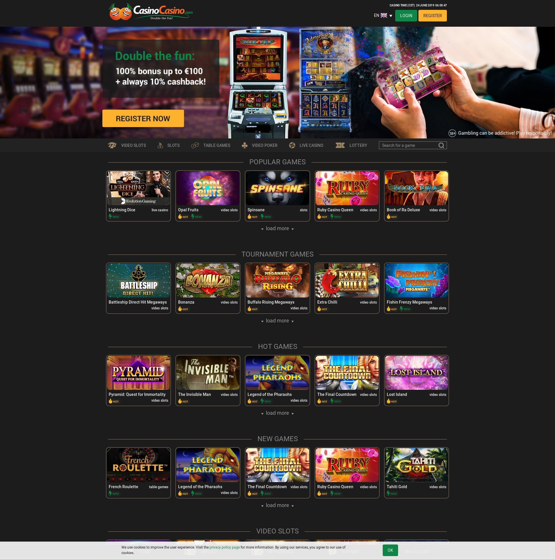 Casino skärm Lobby 2019-06-24 för Norge