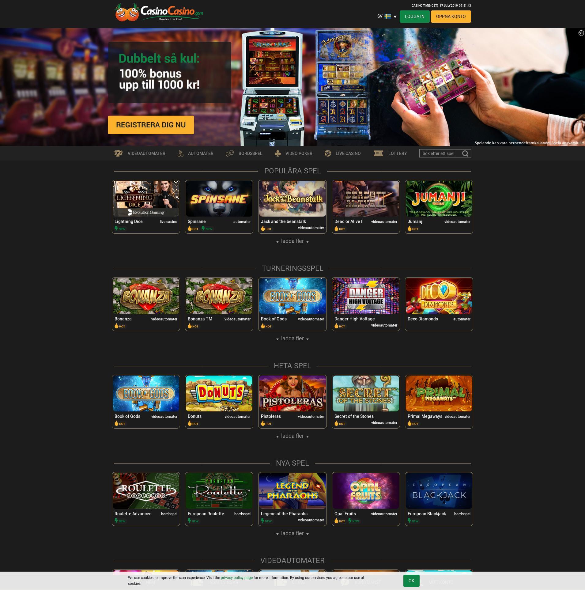 Casino skärm Lobby 2019-07-17 för Sverige