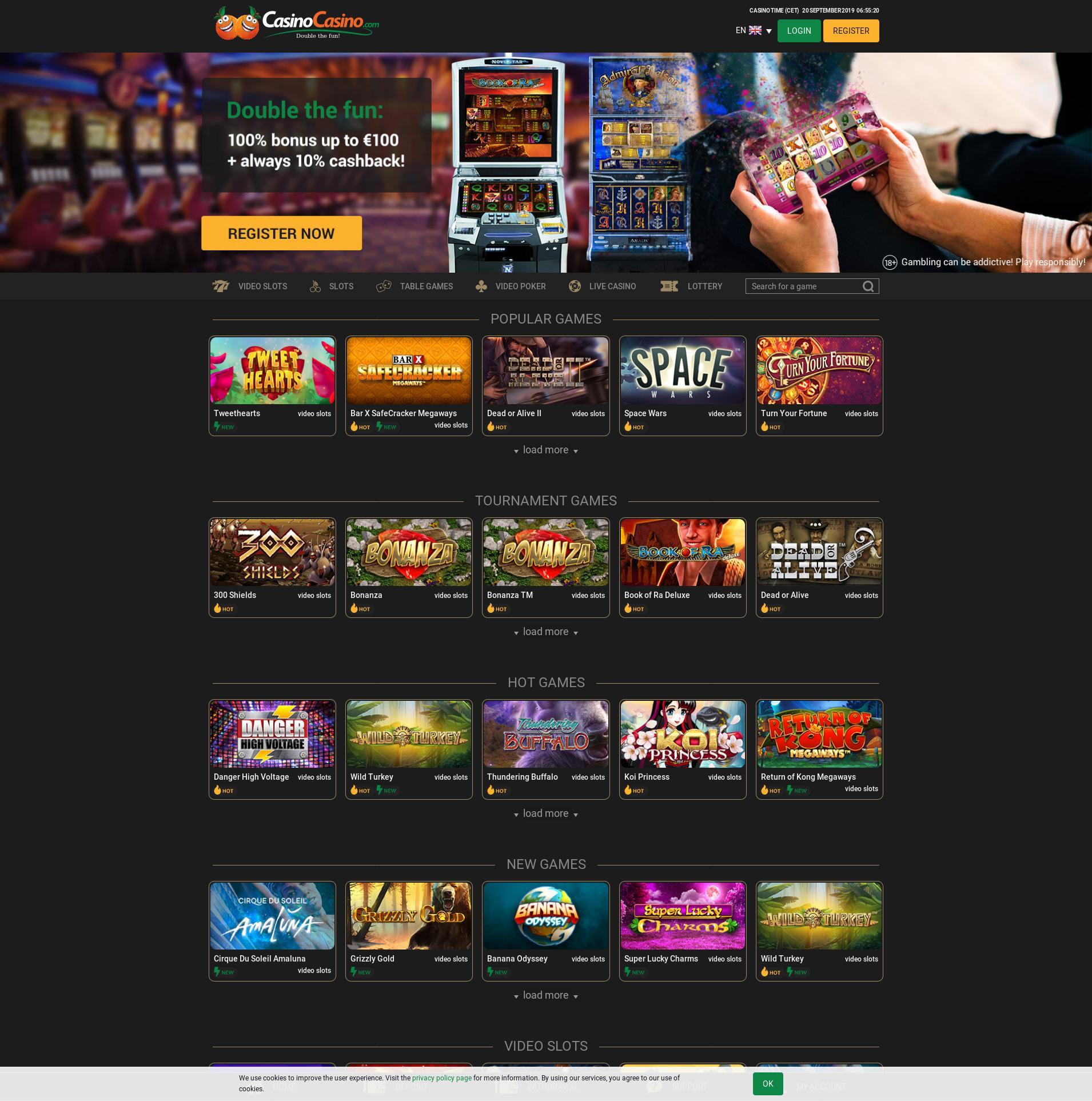 Casino skärm Lobby 2019-09-20 för Norge
