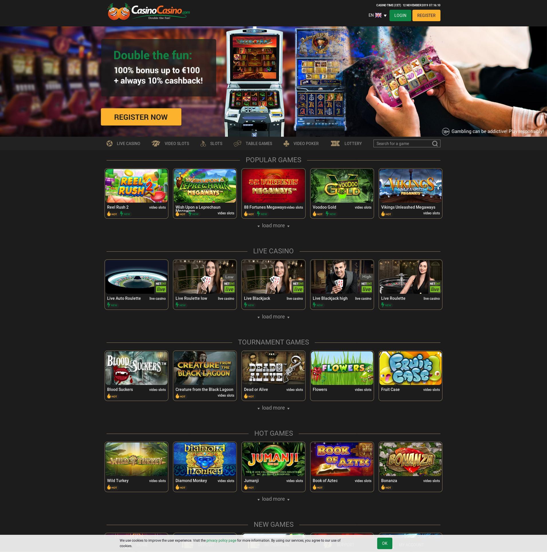 Casino skjerm Lobby 2019-11-12 til Norge