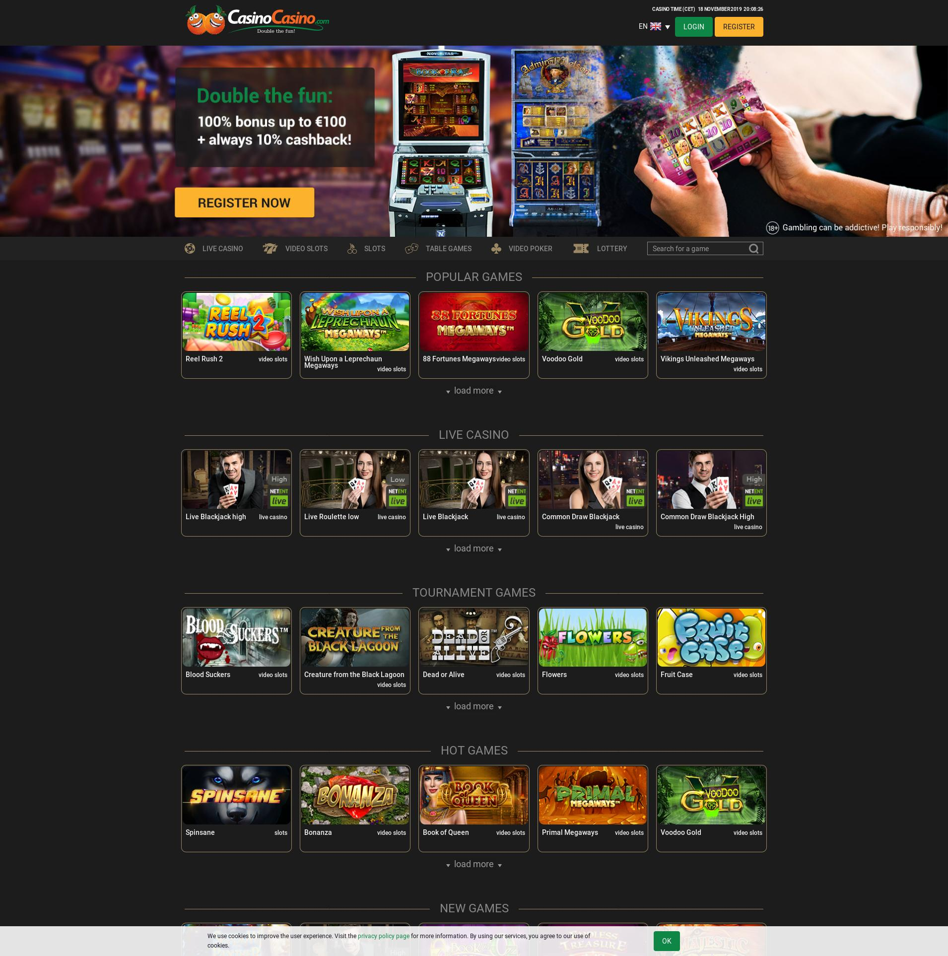Casino skärm Lobby 2019-11-18 för Norge