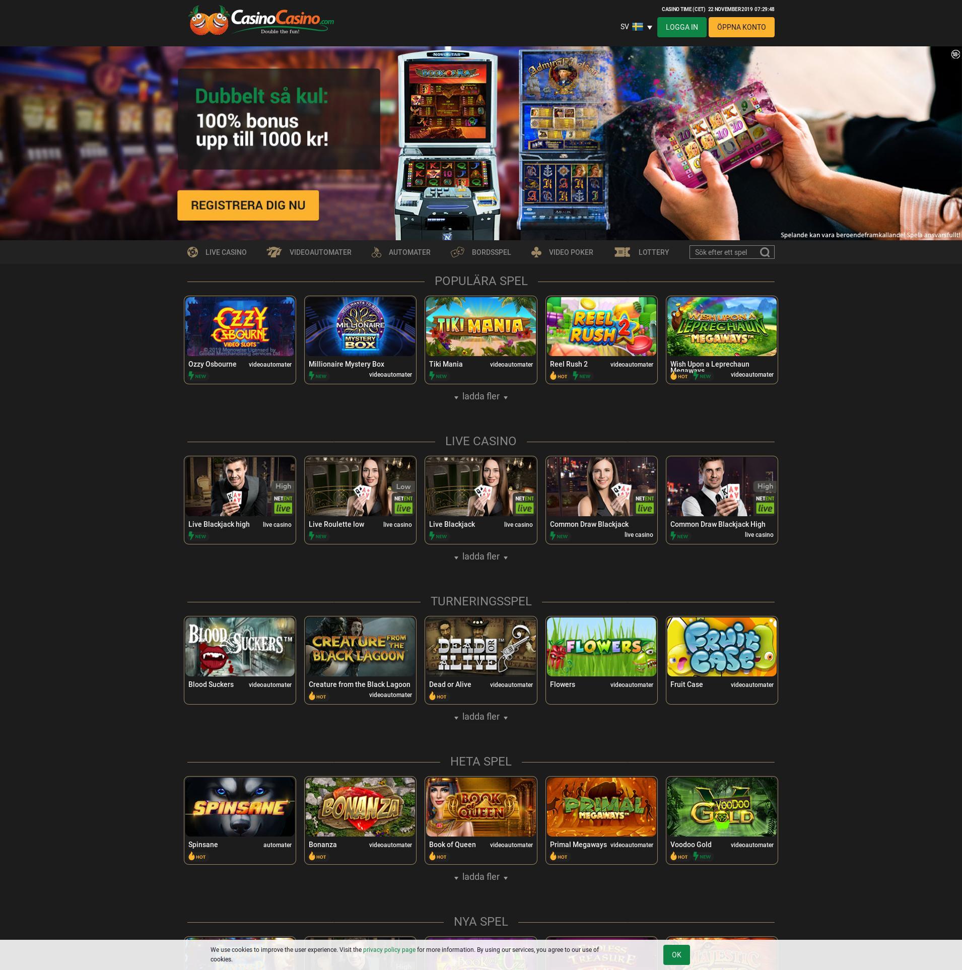 Casino skärm Lobby 2019-11-22 för Sverige