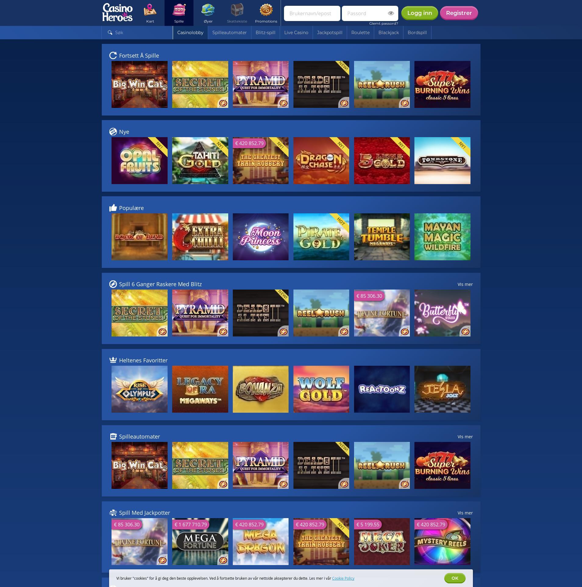 Casino skjerm Lobby 2019-06-16 til Norge
