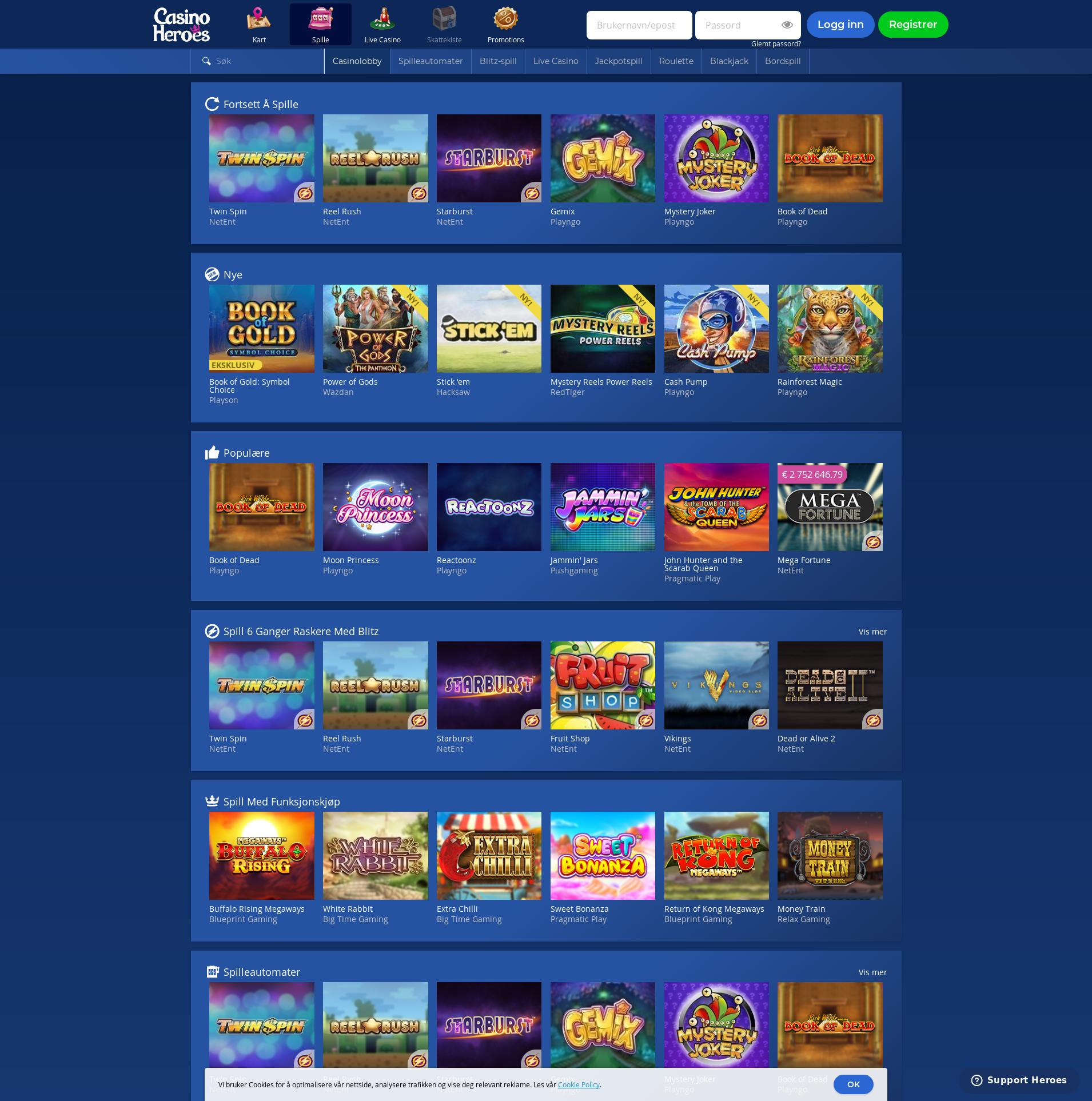 Casino skjerm Lobby 2019-10-18 til Norge