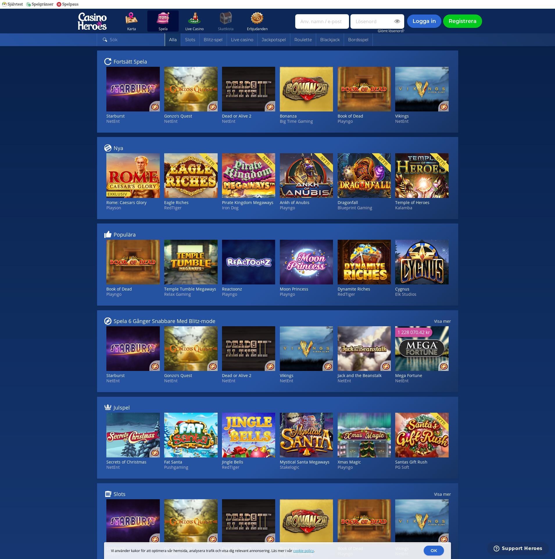 Casino skärm Lobby 2019-12-08 för Sverige