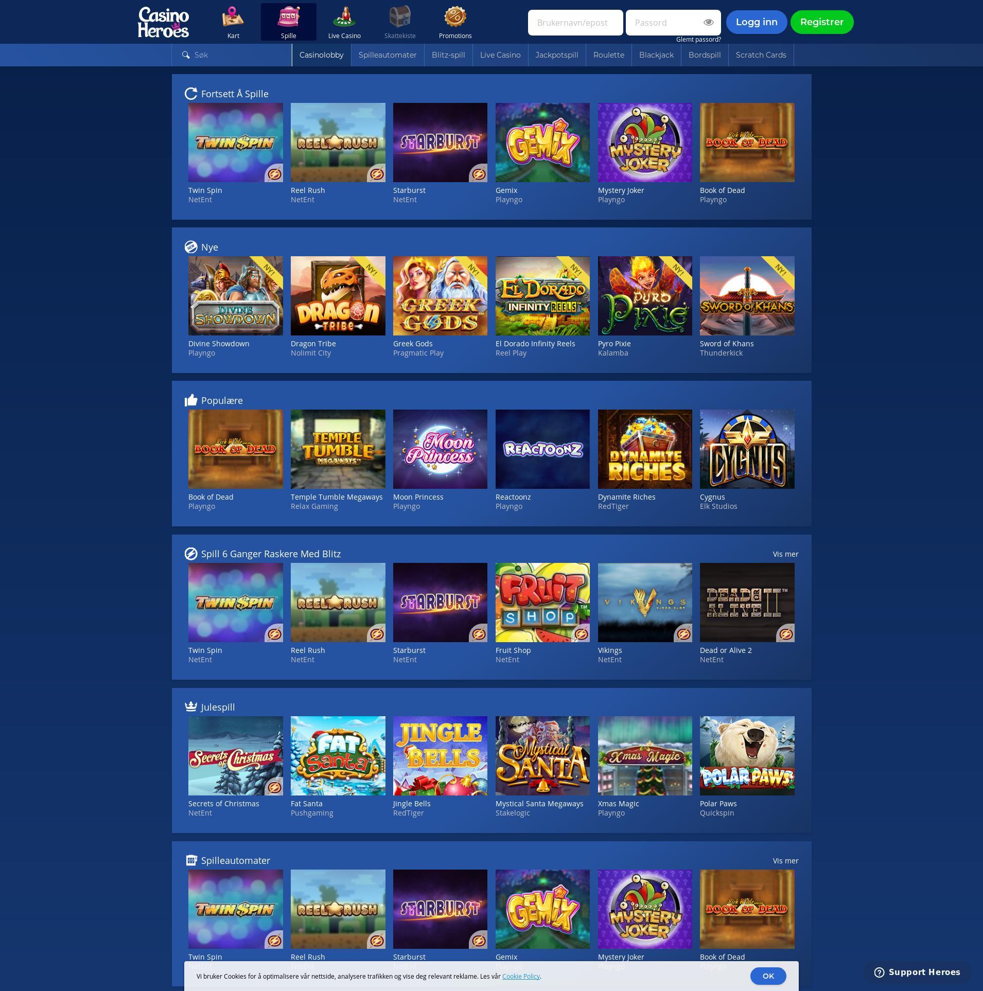 Casino skjerm Lobby 2019-12-13 til Norge
