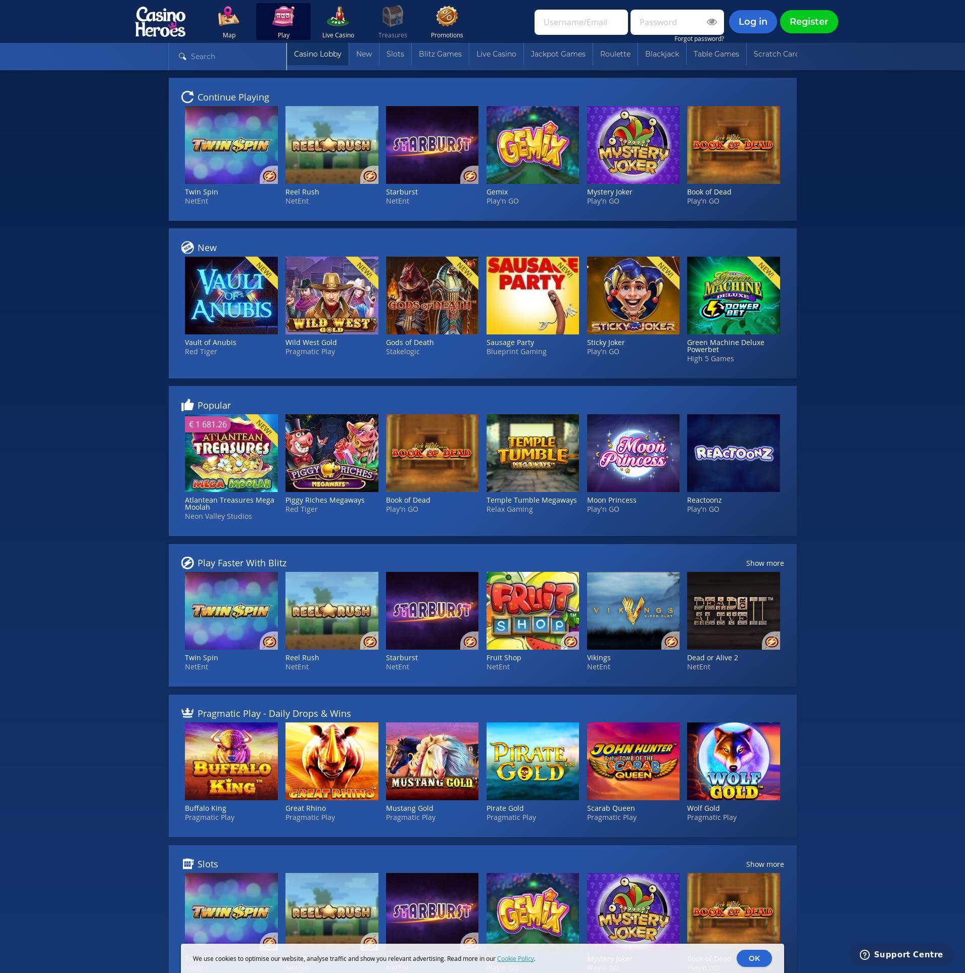 Casino skjerm Lobby 2020-03-28 til Norge