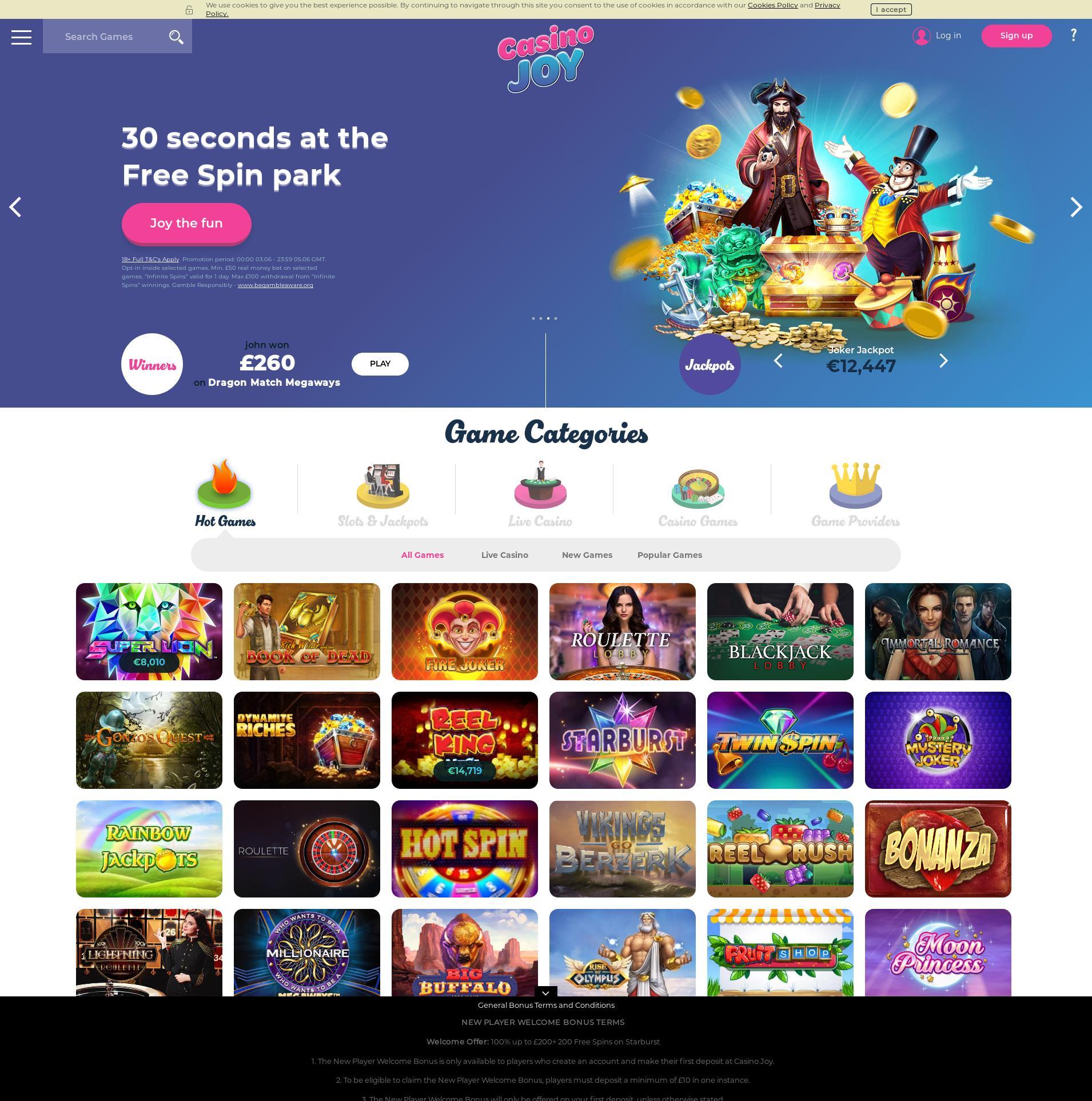 Casino screen Lobby 2020-06-05 for United Kingdom