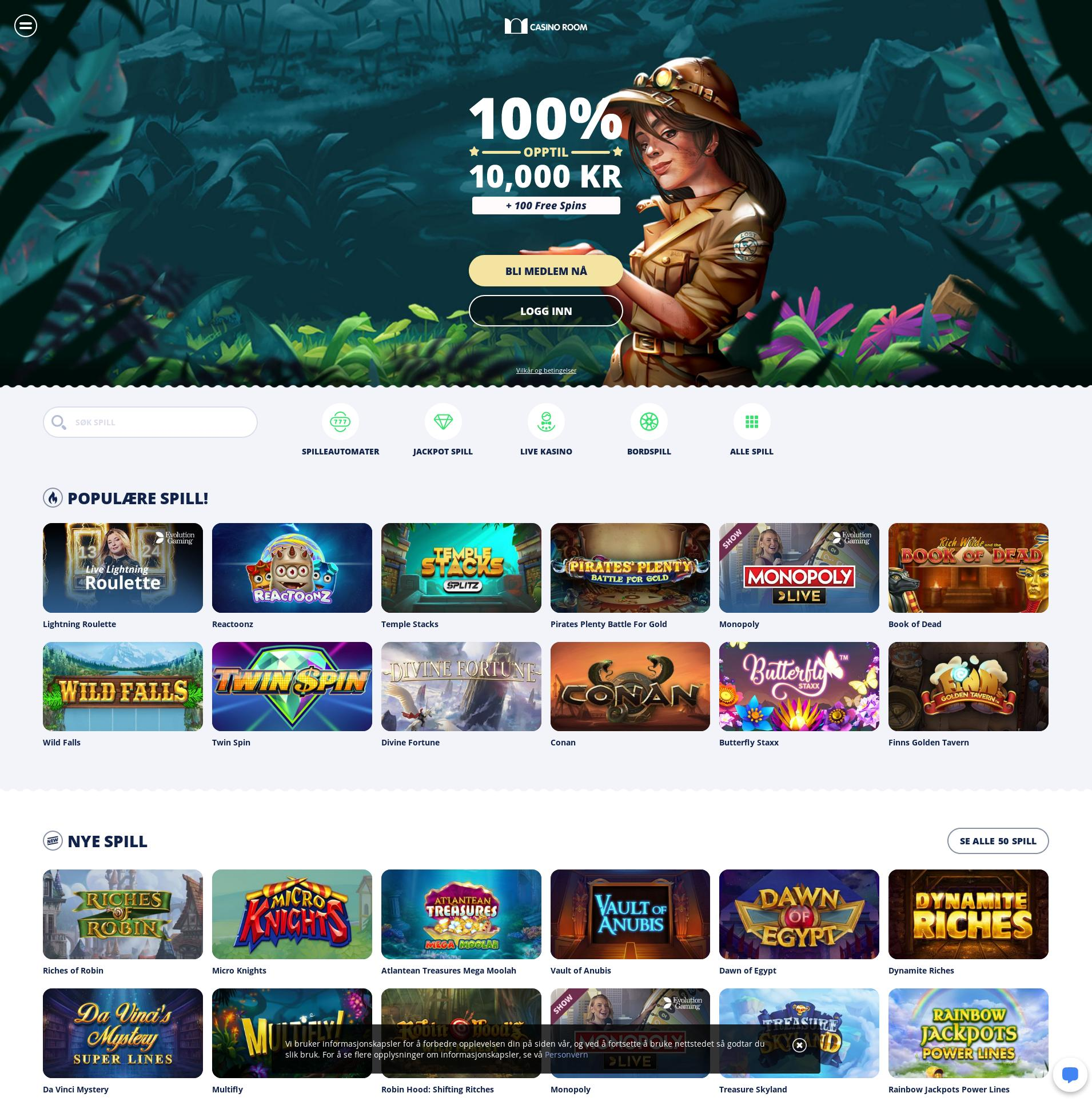 Casino skjerm Lobby 2020-03-31 til Norge