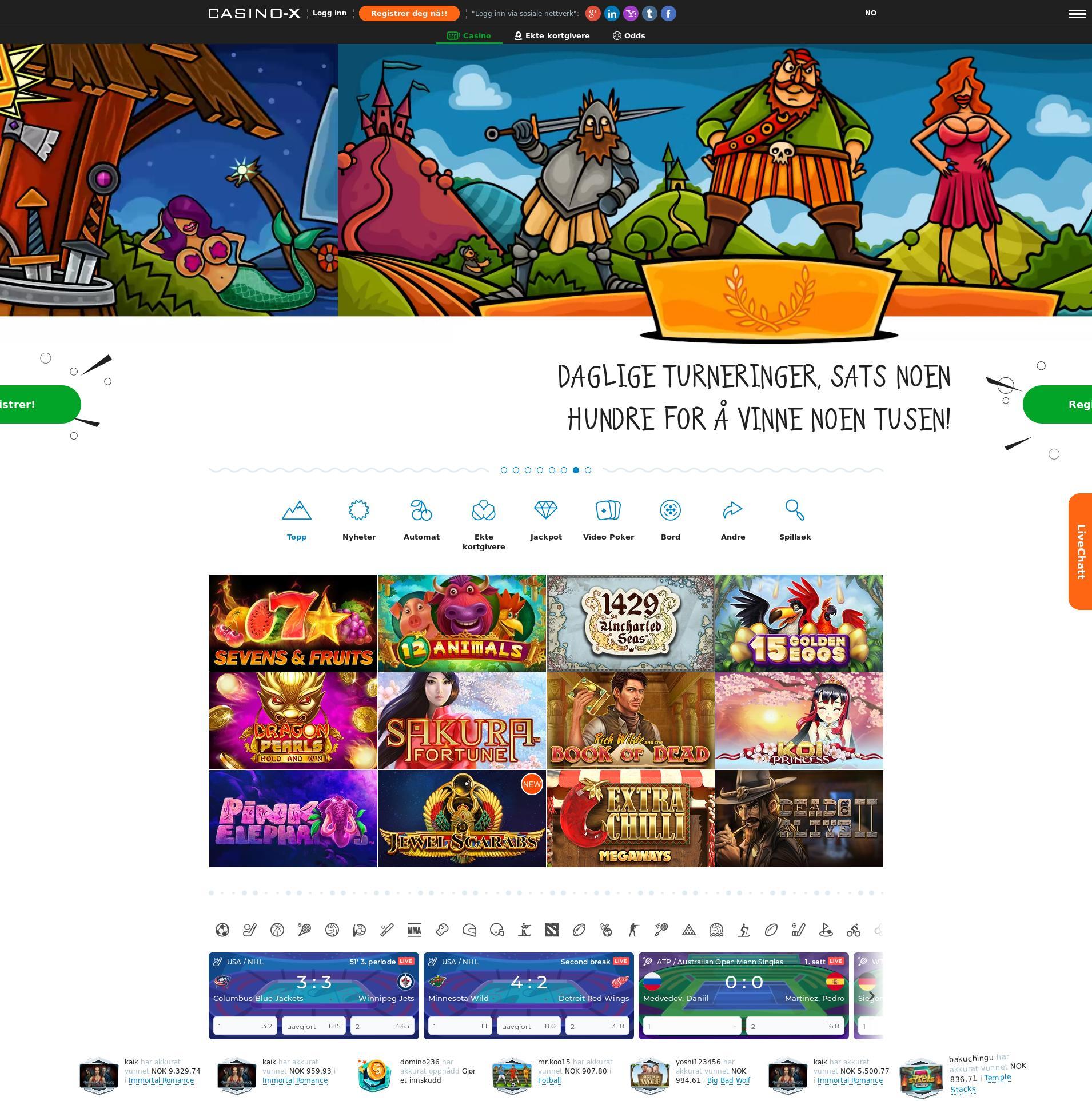 Casino skjerm Lobby 2020-01-23 til Norge