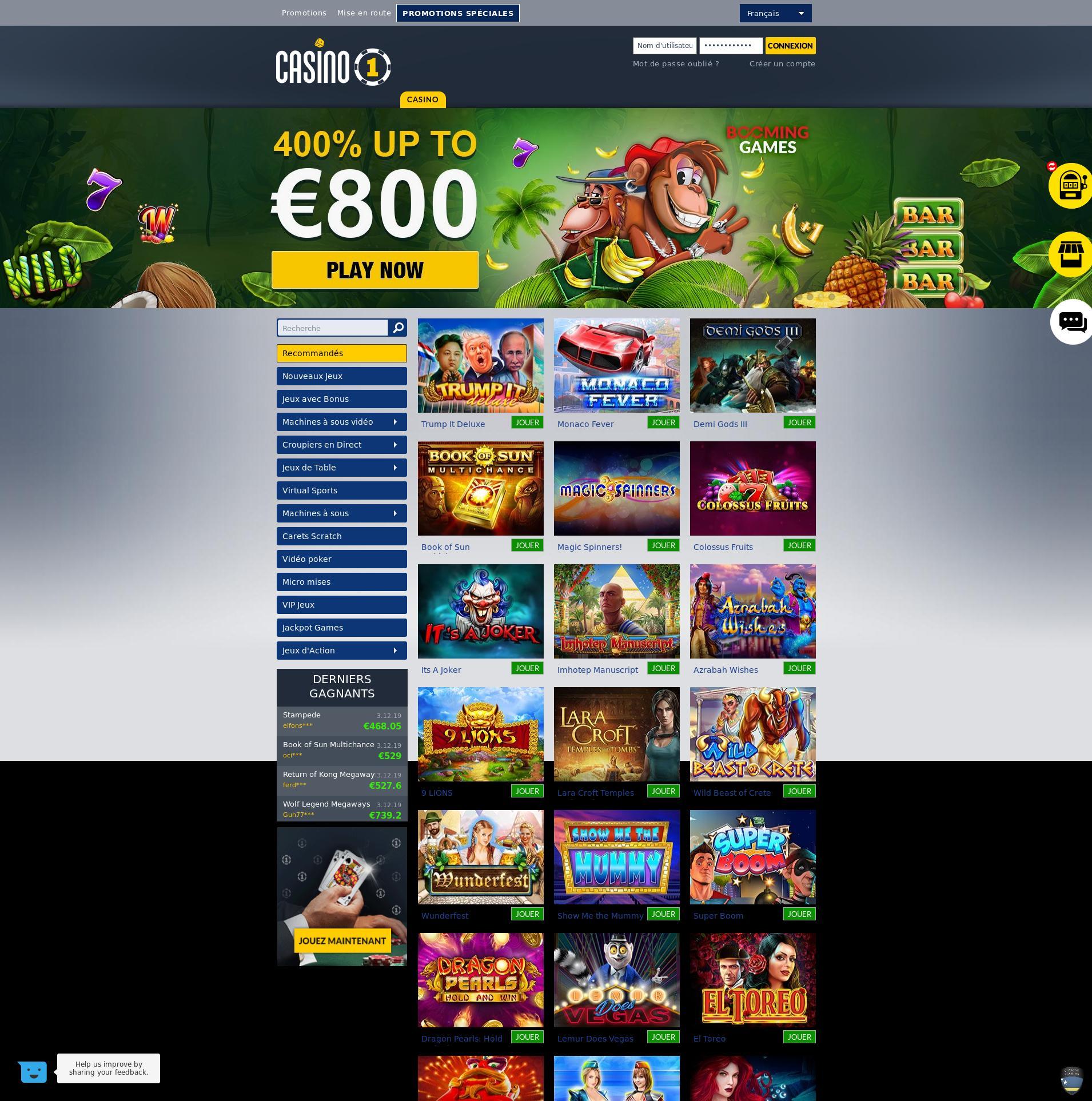 Casino screen Lobby 2019-12-08 pentru Franţa