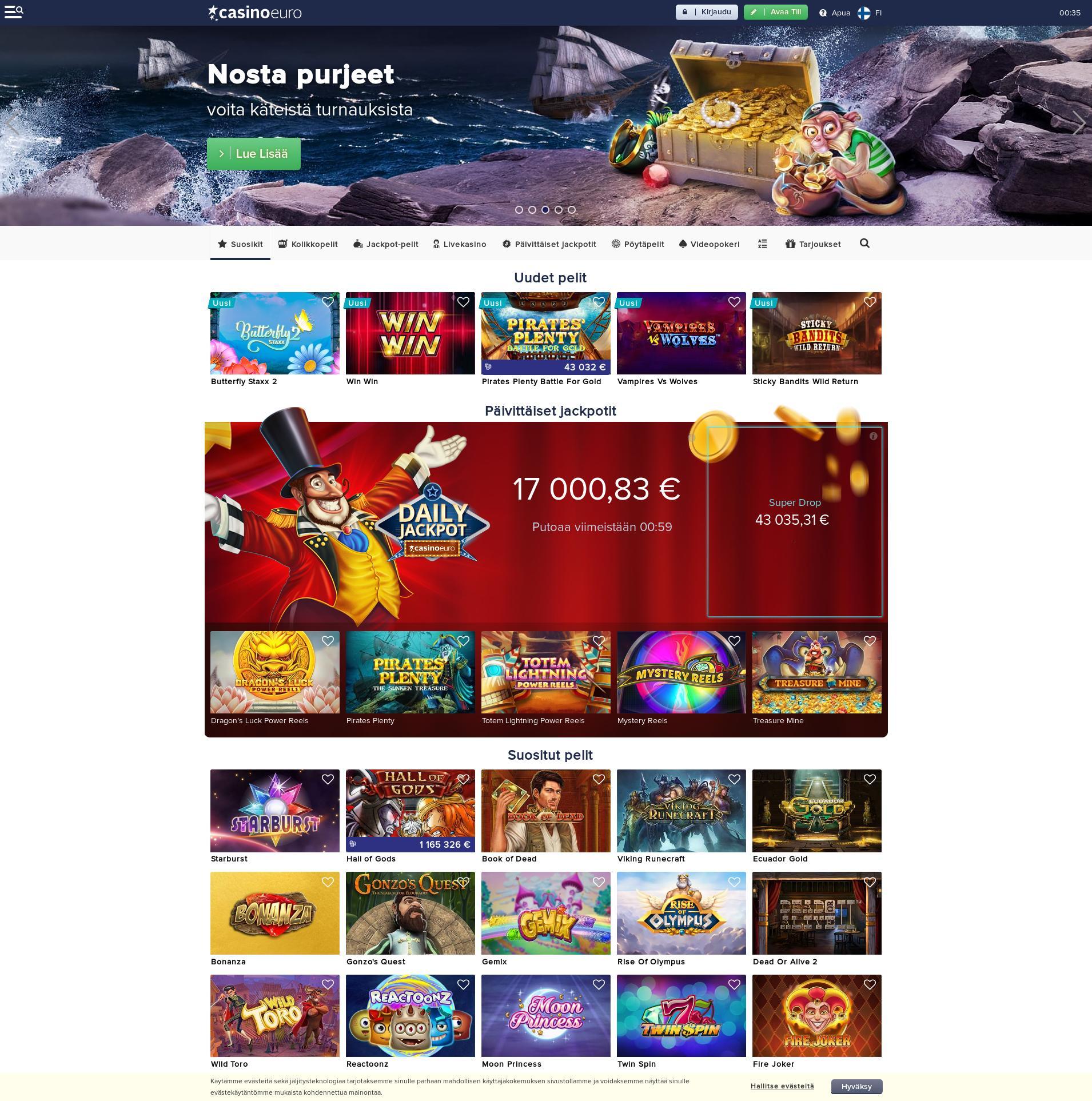 Casino-näyttö Lobby 2019-08-23 varten Suomi