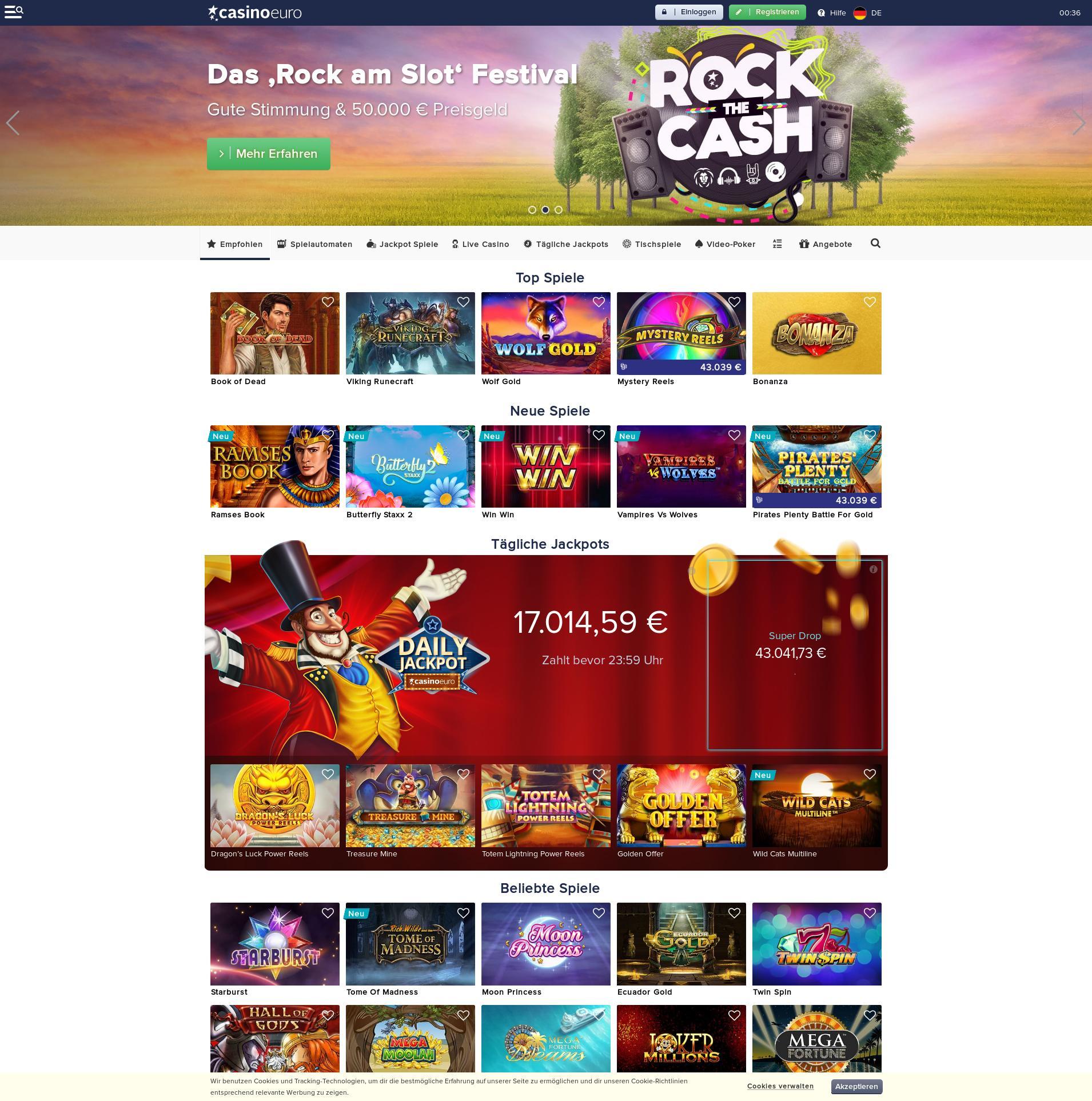 Casino Bildschirm Lobby 2019-08-23 zum Deutschland