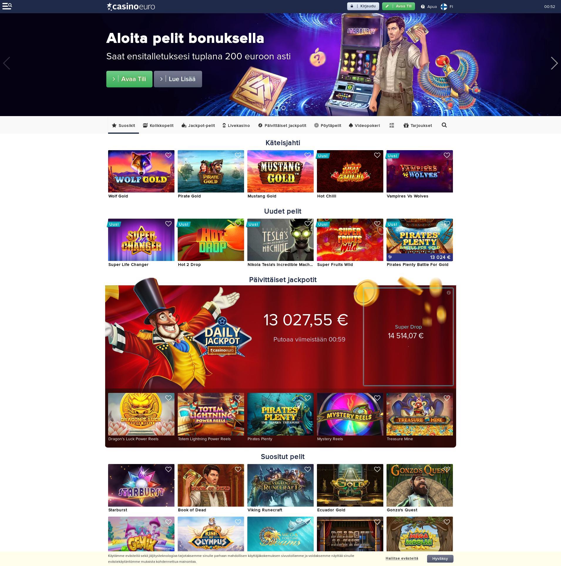 Casino screen Lobby 2019-09-16 for Finland