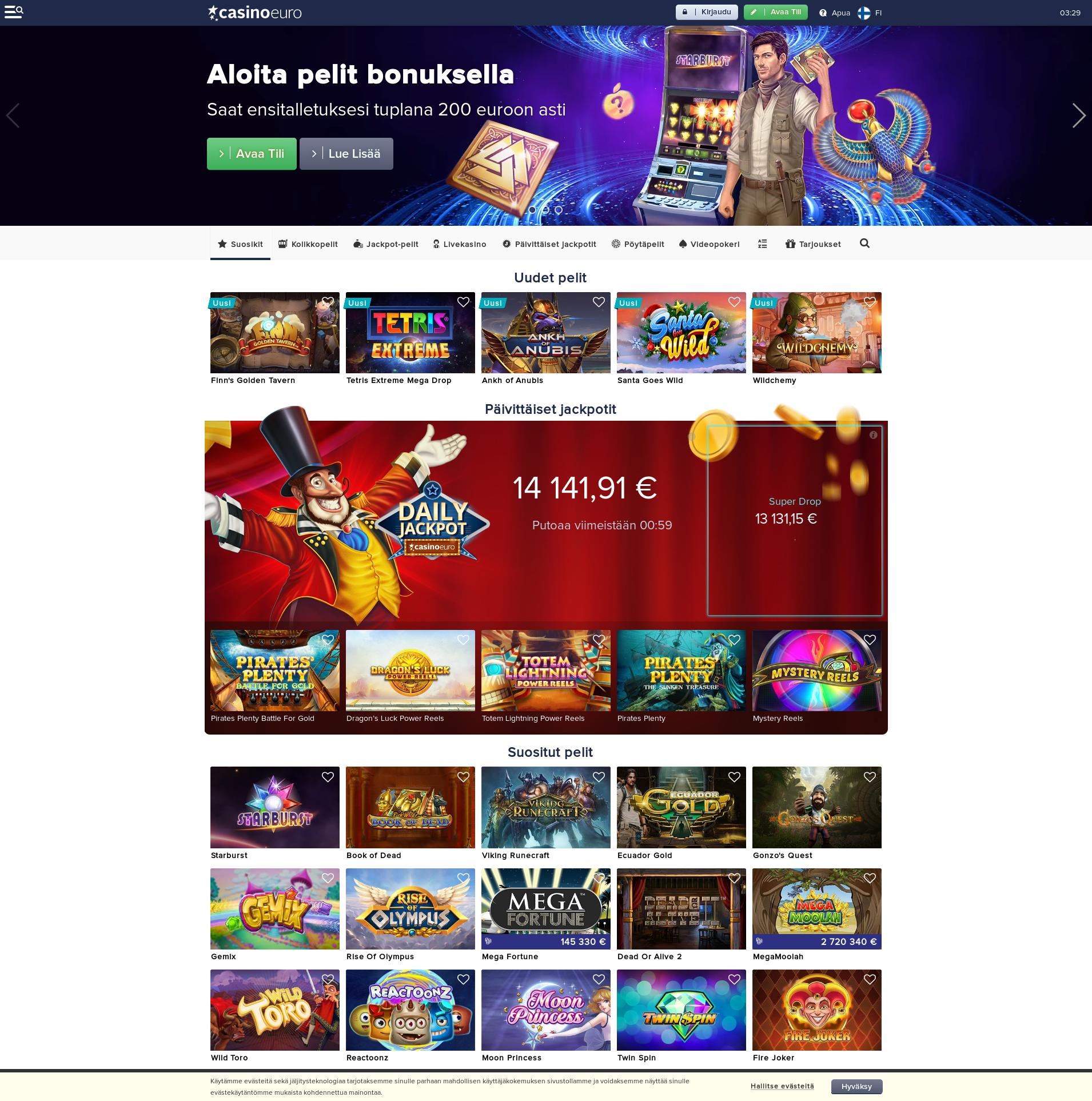 Casino screen Lobby 2019-12-09 for Finland