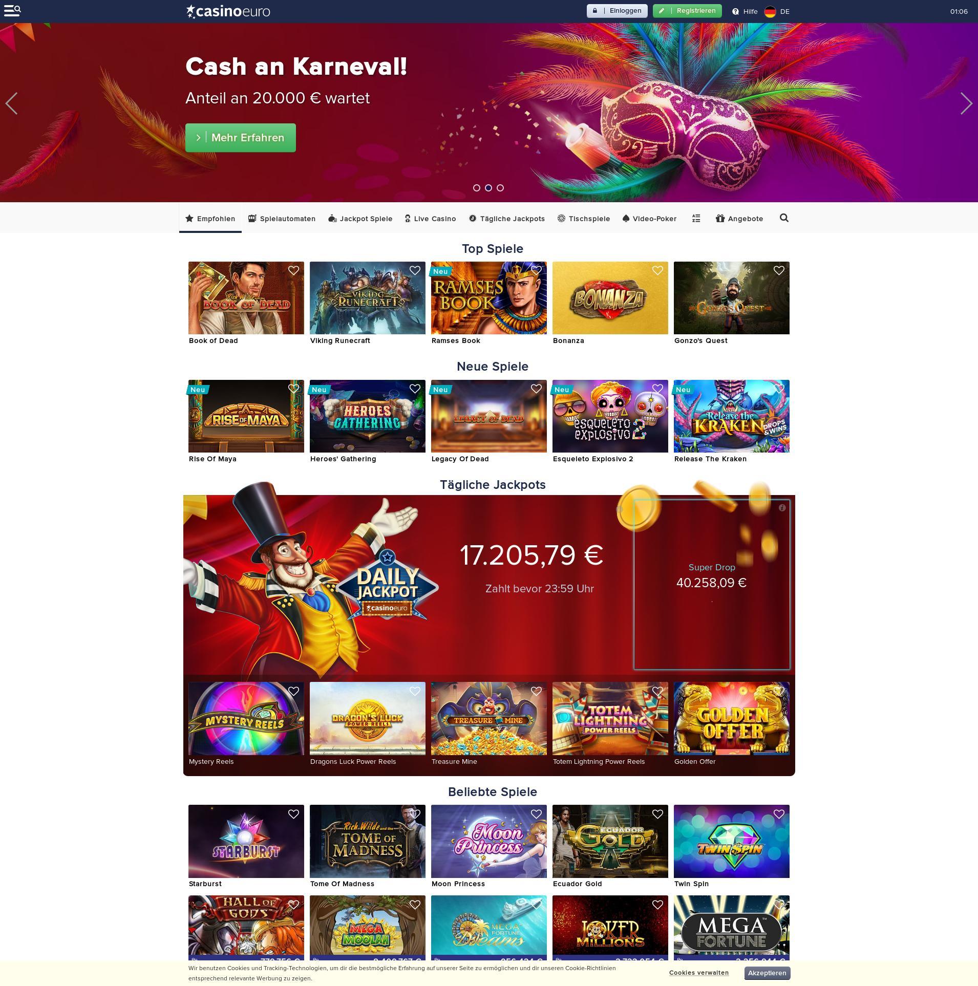 Casino screen Lobby 2020-02-19 for Germany