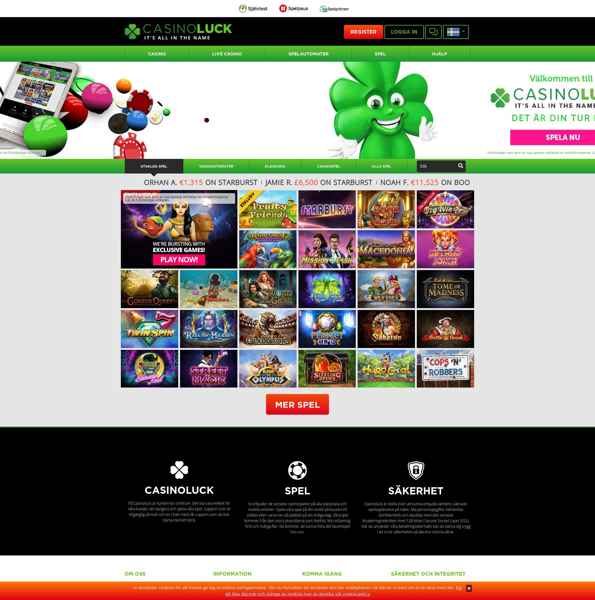 Casino screen Lobby 2020-02-21 for Sweden