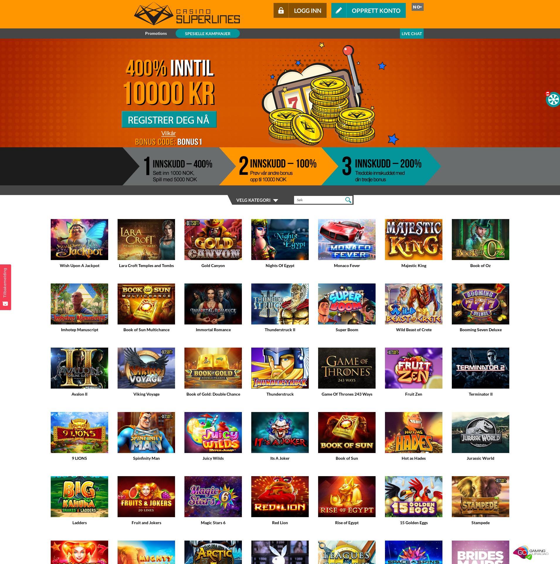 Casino skjerm Lobby 2019-11-18 til Norge