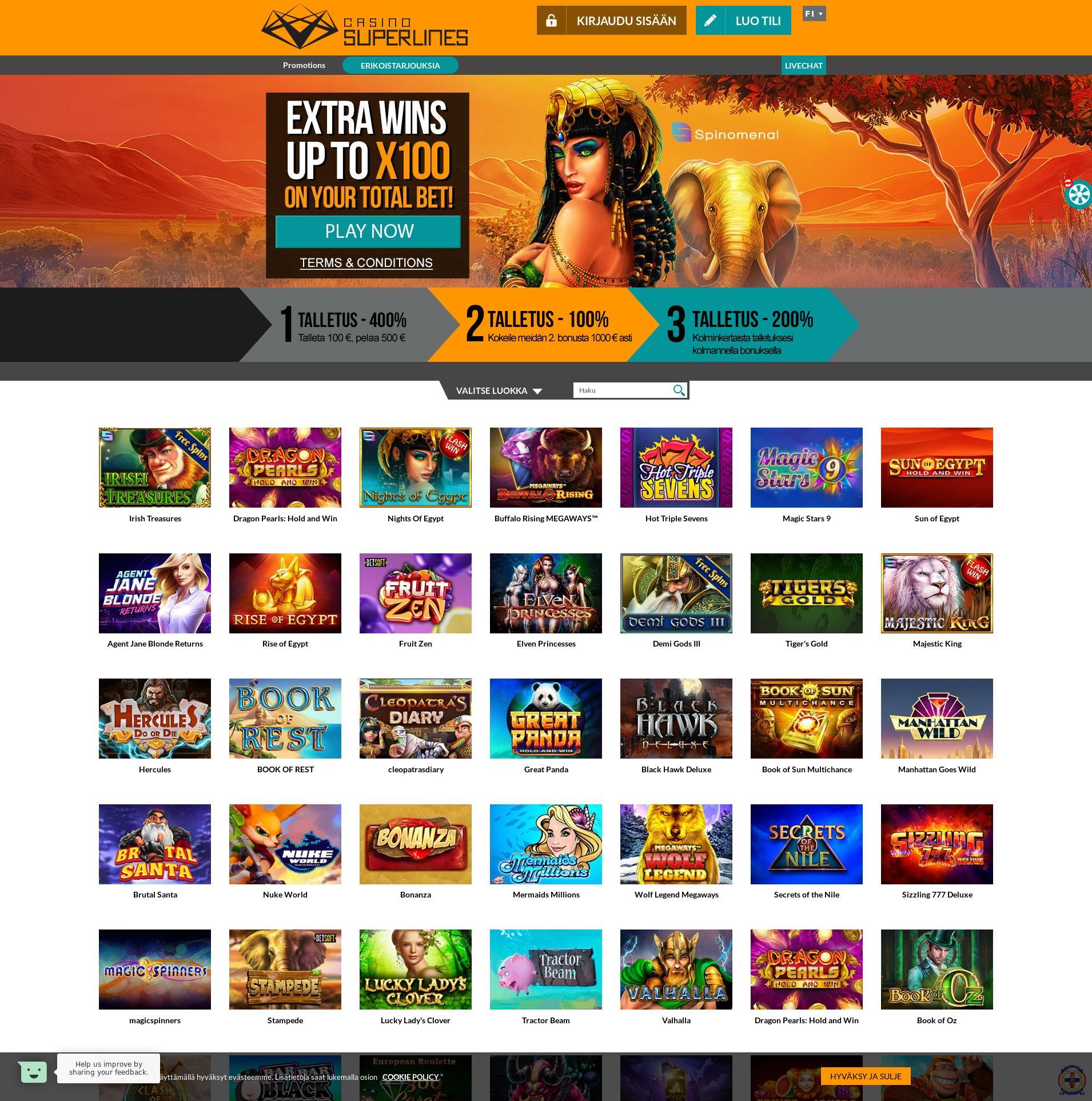 Casino skärm Lobby 2020-03-27 för finland