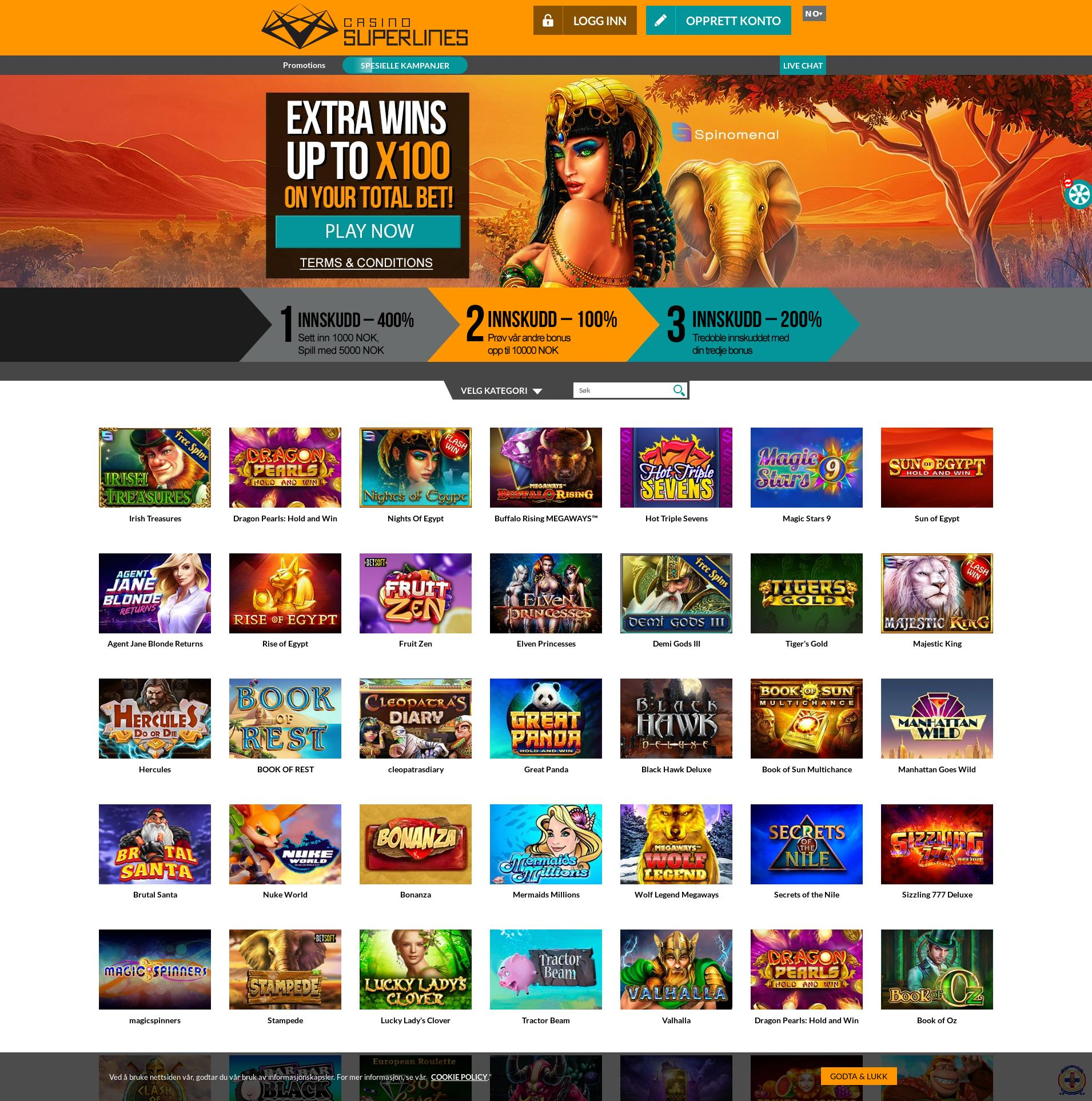 Casino skjerm Lobby 2020-04-02 til Norge