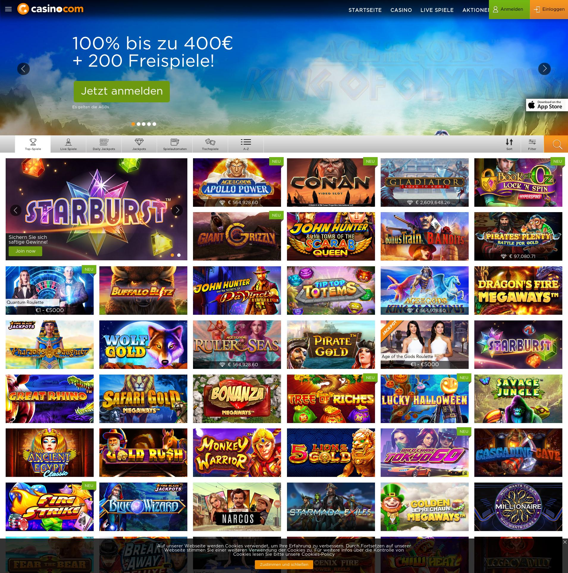Casino Bildschirm Lobby 2019-10-16 zum Deutschland