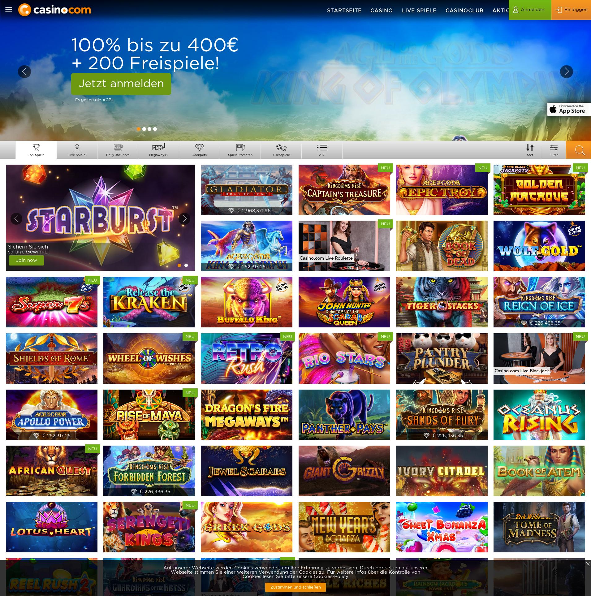 Casino Bildschirm Lobby 2020-02-17 zum Deutschland
