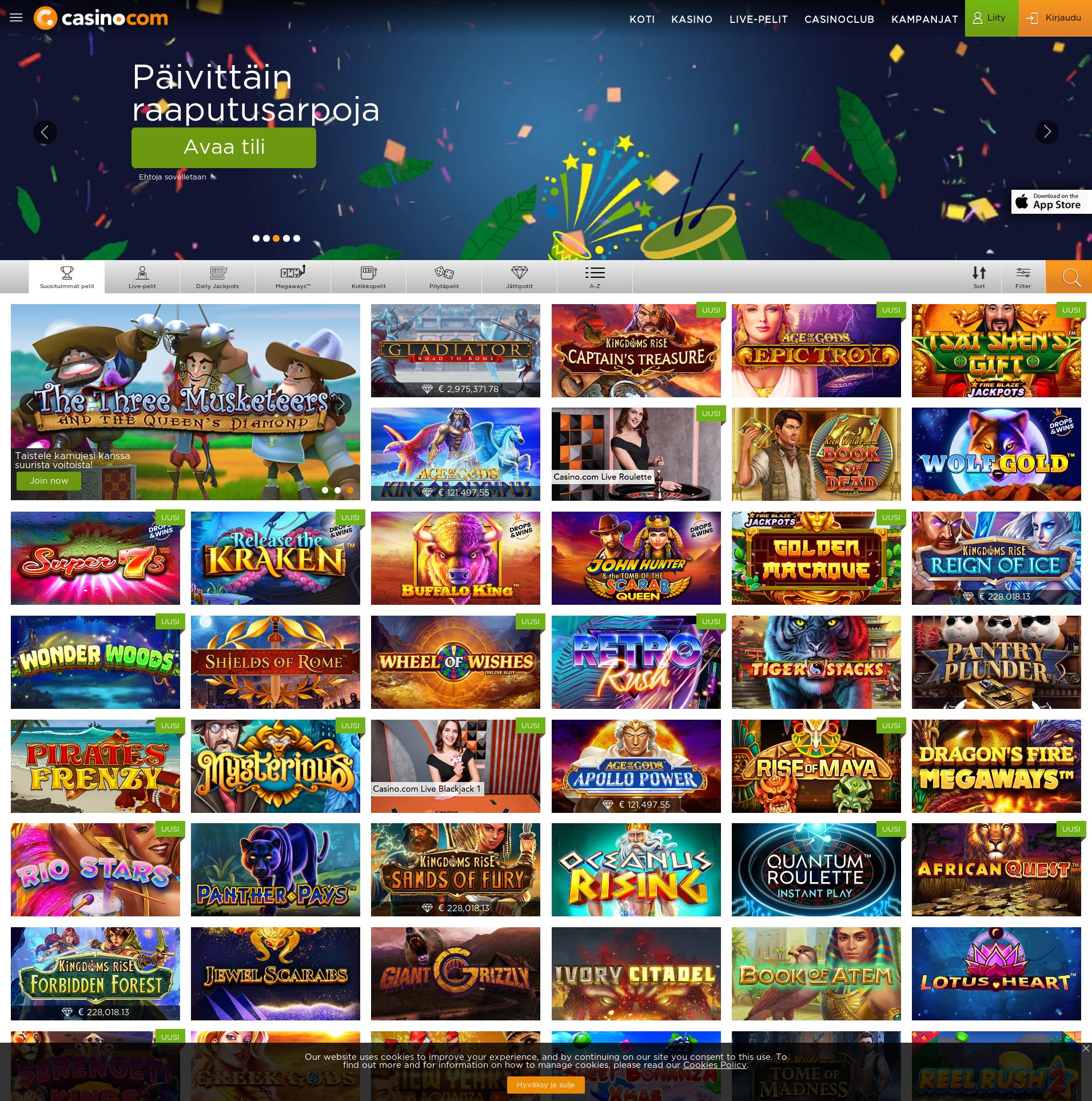 Casino-näyttö Lobby 2020-02-21 varten Suomi
