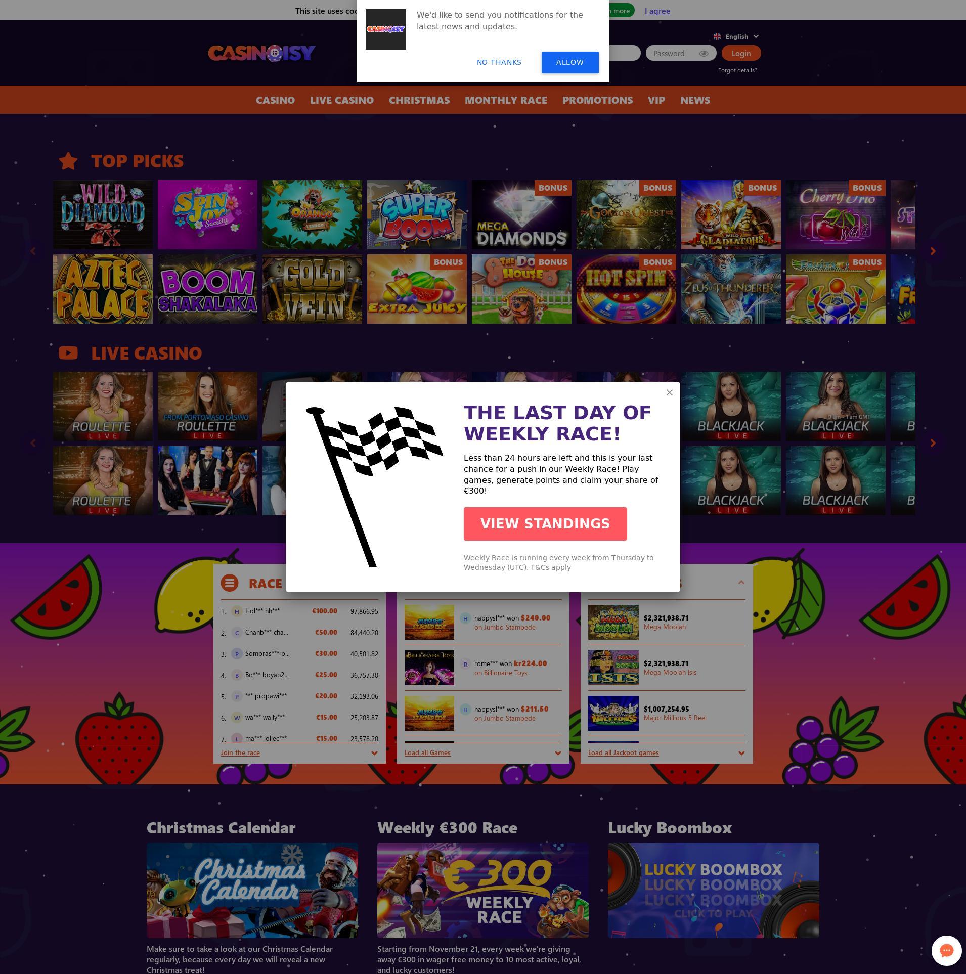 Casino Bildschirm Lobby 2019-12-04 zum Deutschland