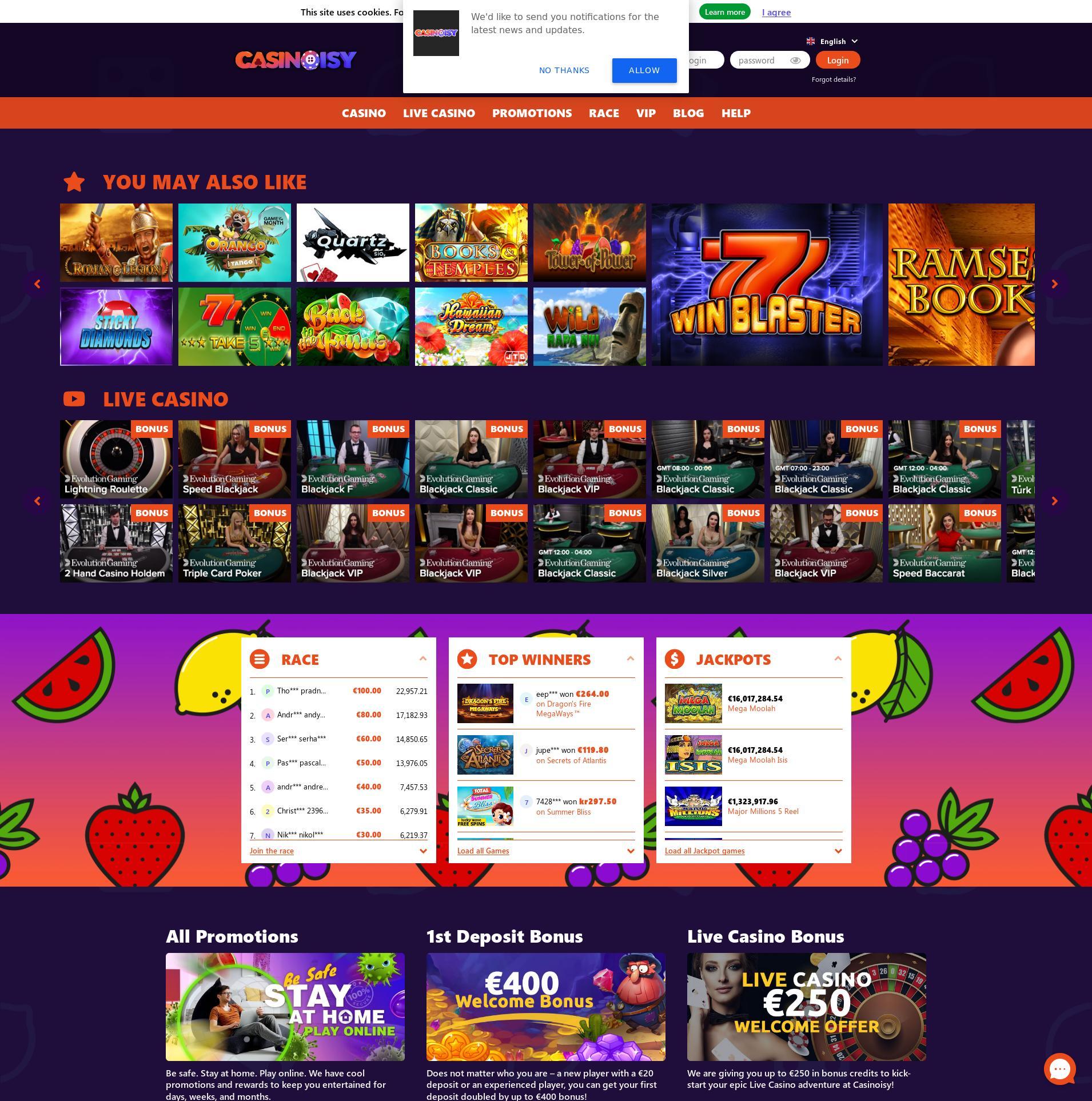 Casino Bildschirm Lobby 2020-04-03 zum Deutschland